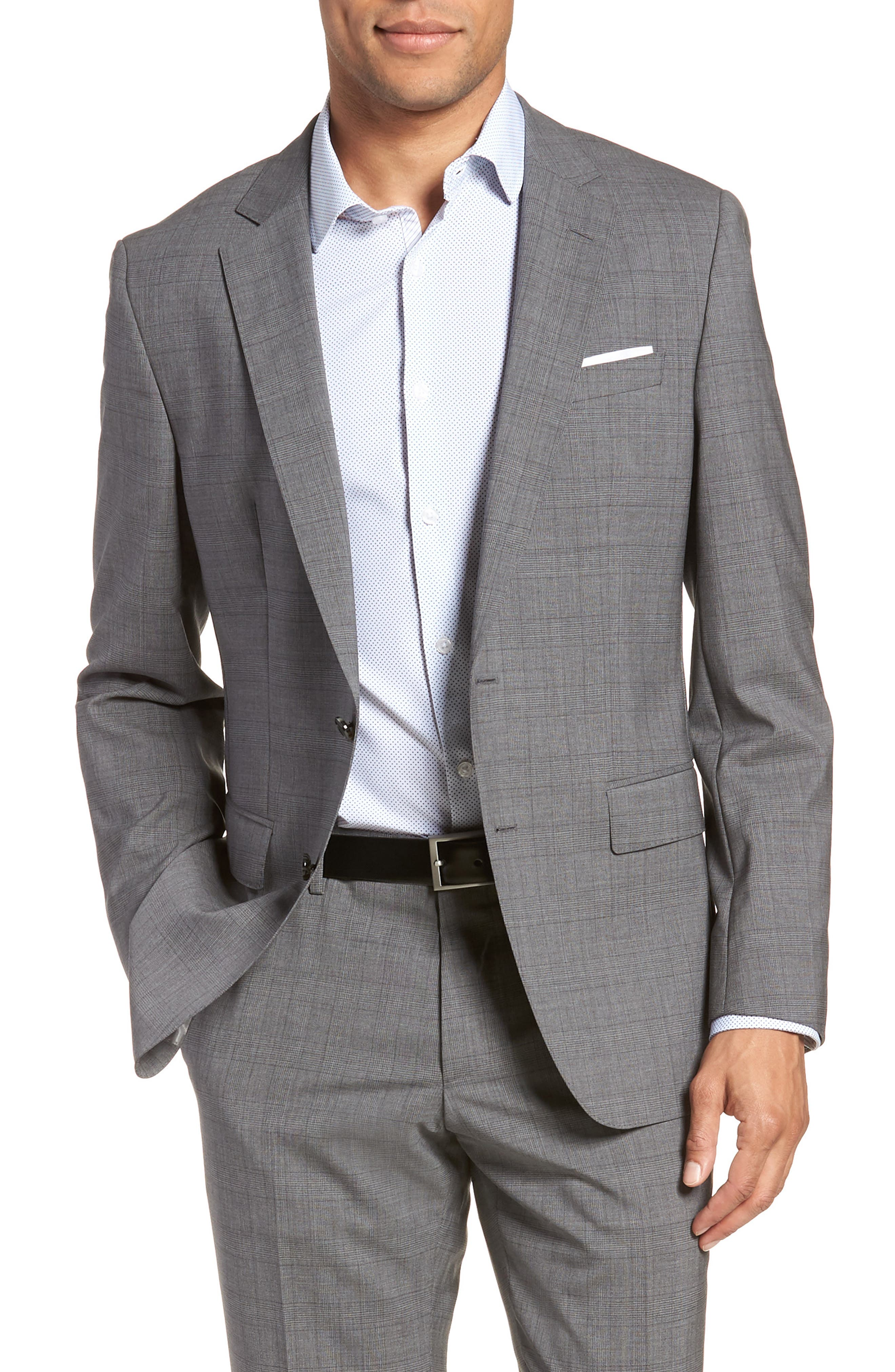 BOSS, Huge/Genius Trim Fit Plaid Wool Suit, Alternate thumbnail 5, color, 069