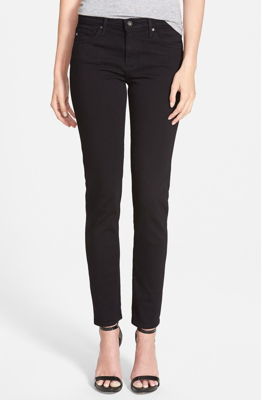 AG, 'Prima' Mid Rise Cigarette Jeans, Main thumbnail 1, color, SUPER BLACK