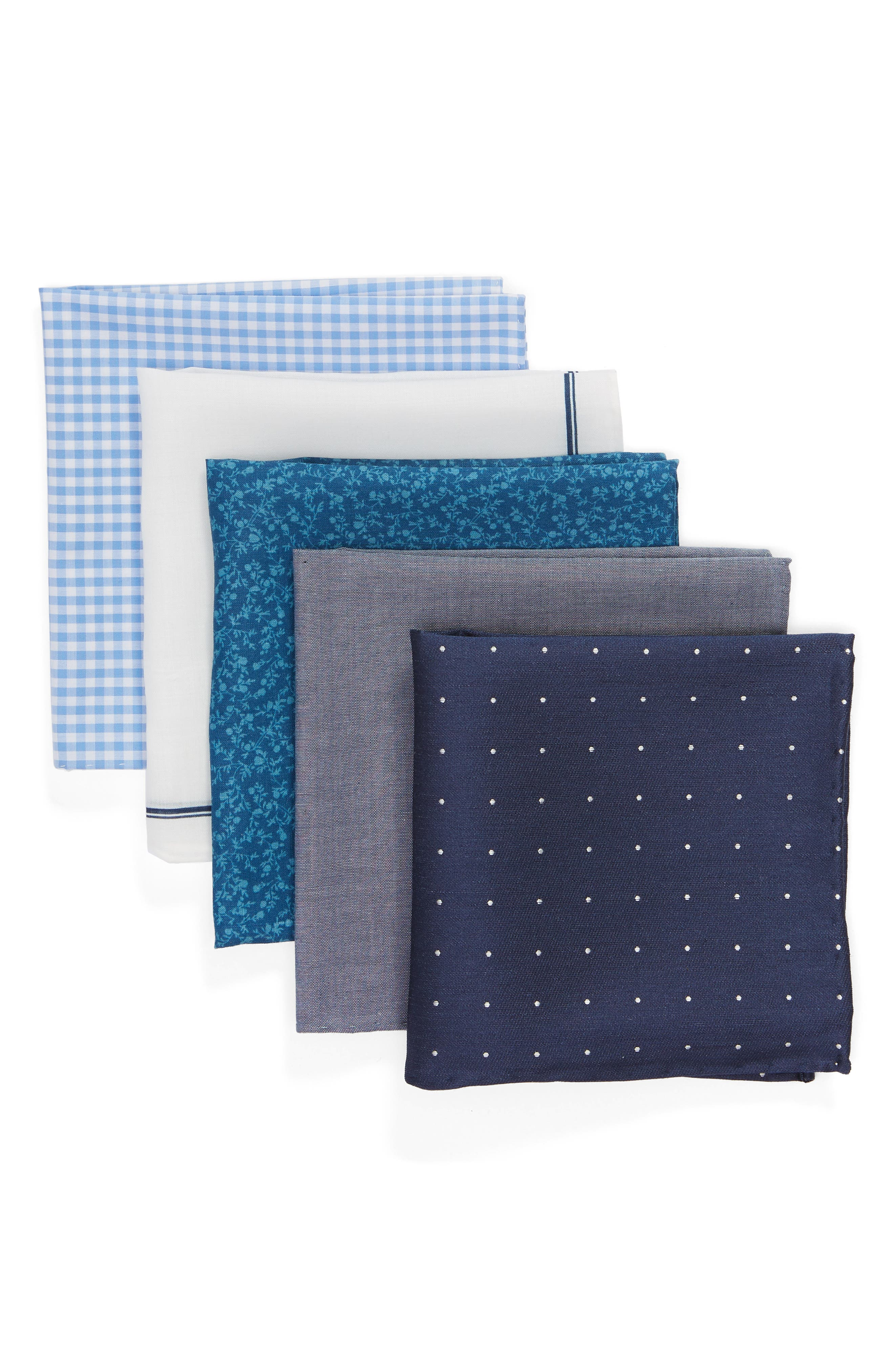 THE TIE BAR, Set of 5 Pocket Squares, Main thumbnail 1, color, 467