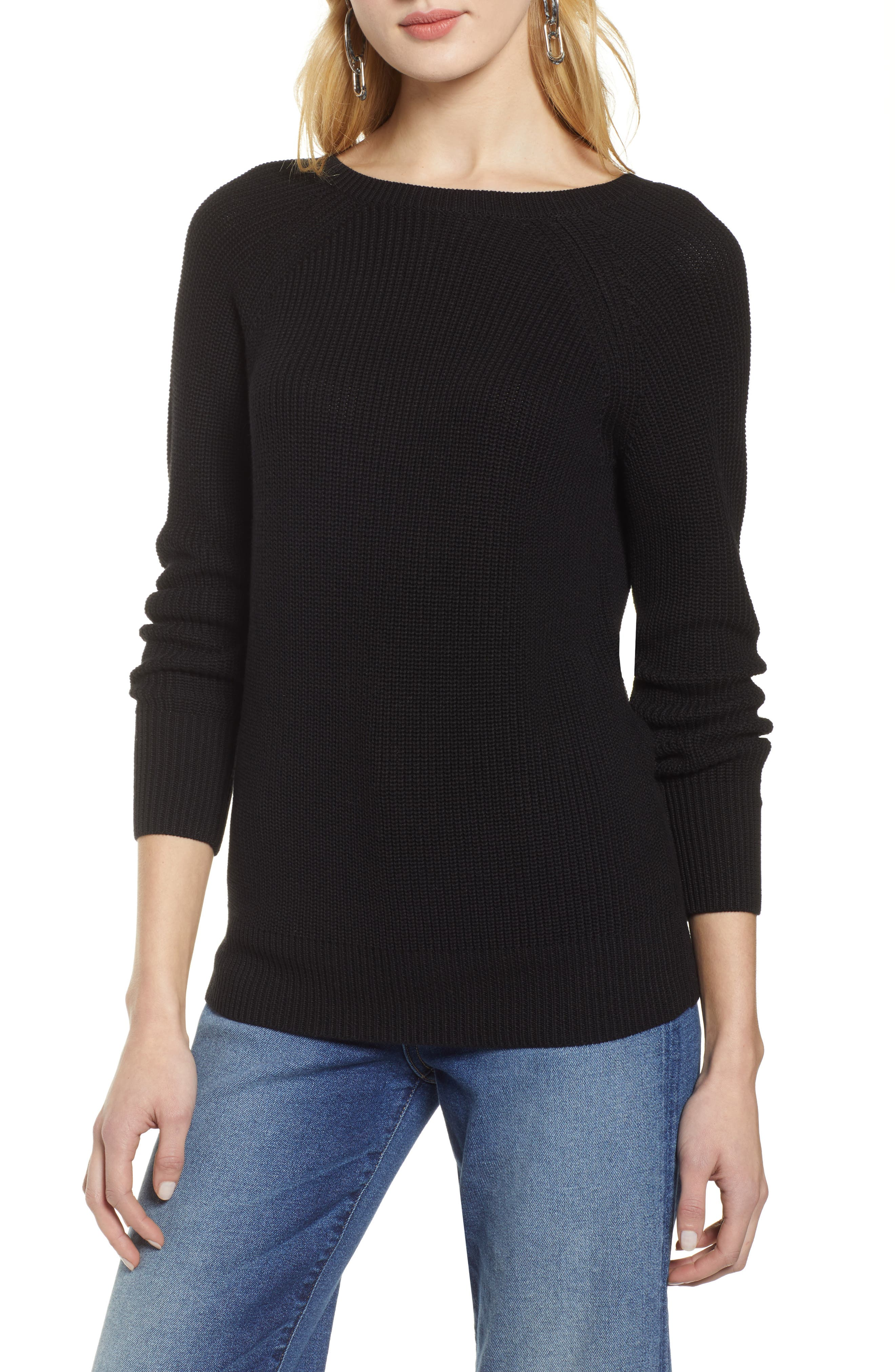 HALOGEN<SUP>®</SUP>, Cross Back Sweater, Main thumbnail 1, color, BLACK