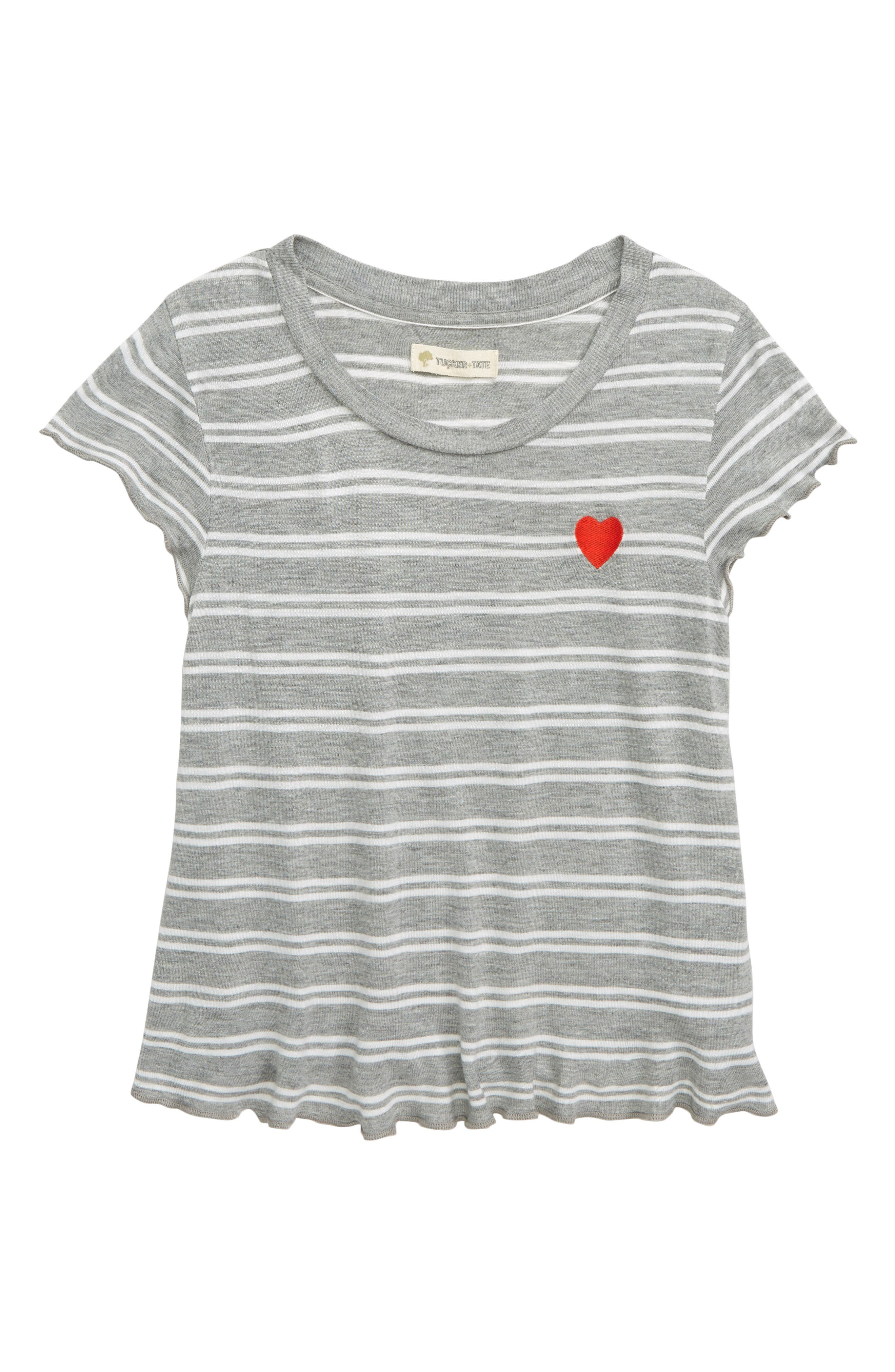 TUCKER + TATE, Embroidered Stripe Tee, Main thumbnail 1, color, GREY MEDIUM HEATHER STRIPE