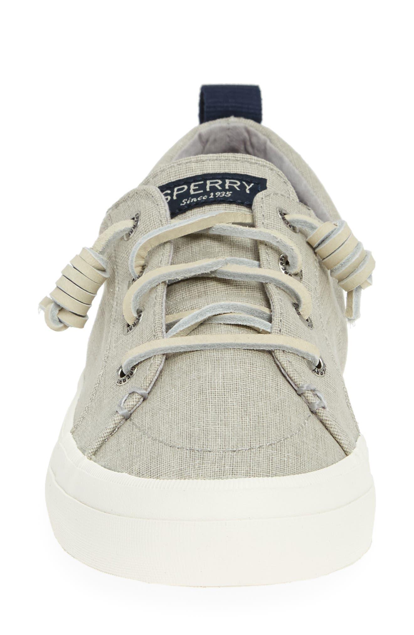 SPERRY, Crest Vibe Sneaker, Alternate thumbnail 4, color, GREY LINEN FABRIC