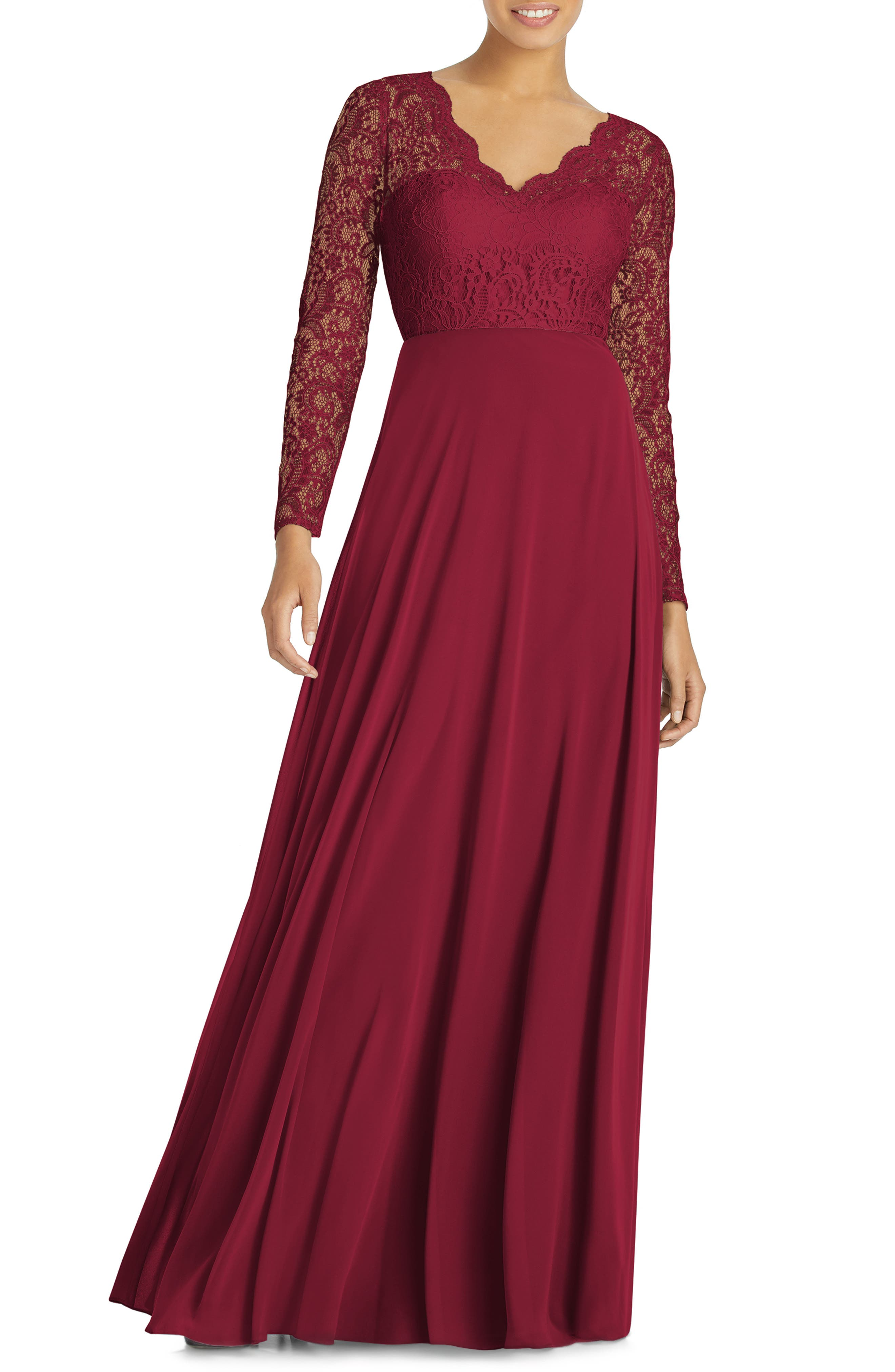 Dessy Collection Long Sleeve Lace & Chiffon Gown, Burgundy