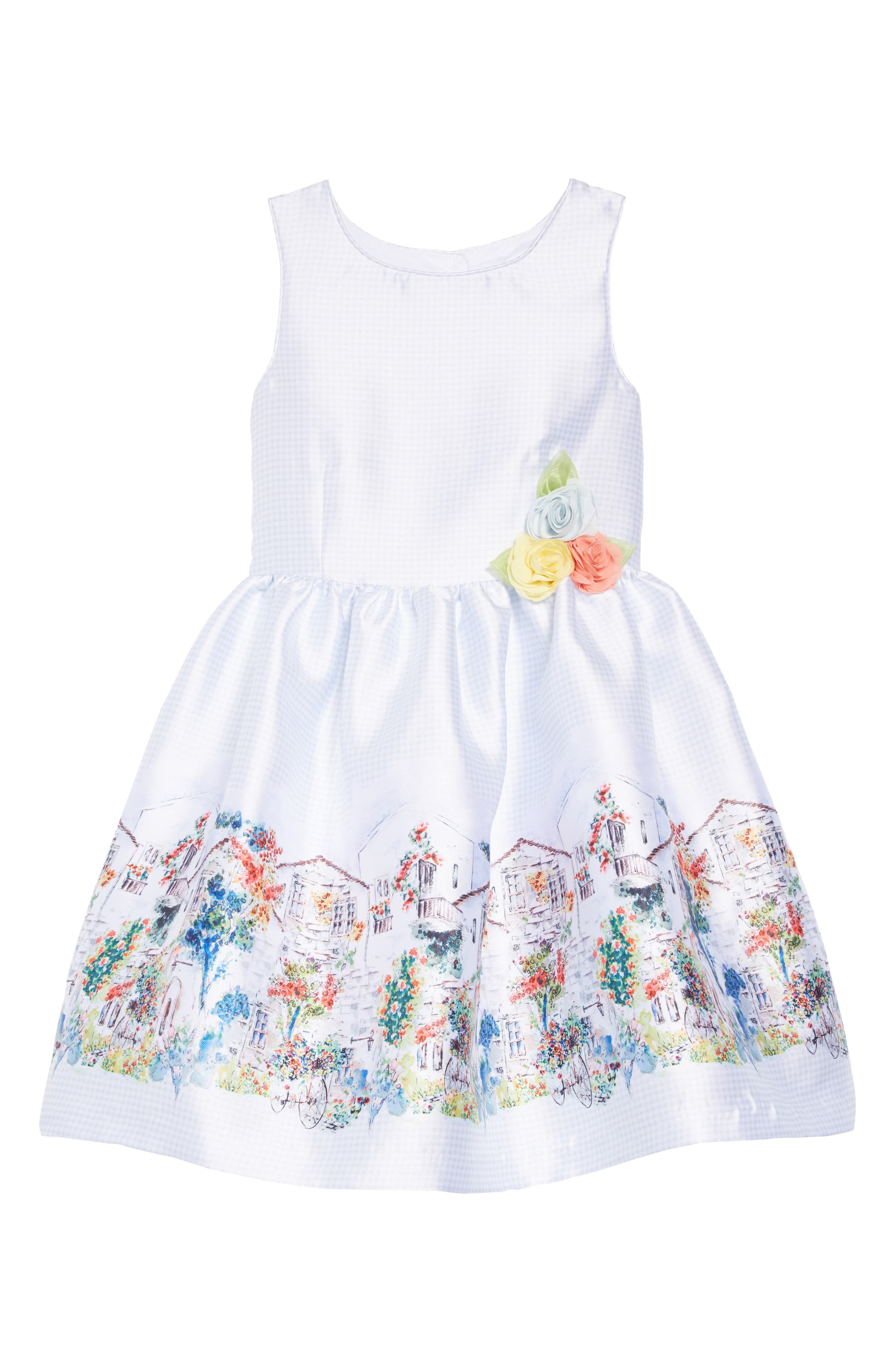 PIPPA & JULIE, Border Print Gingham Dress, Main thumbnail 1, color, GREY/ WHITE