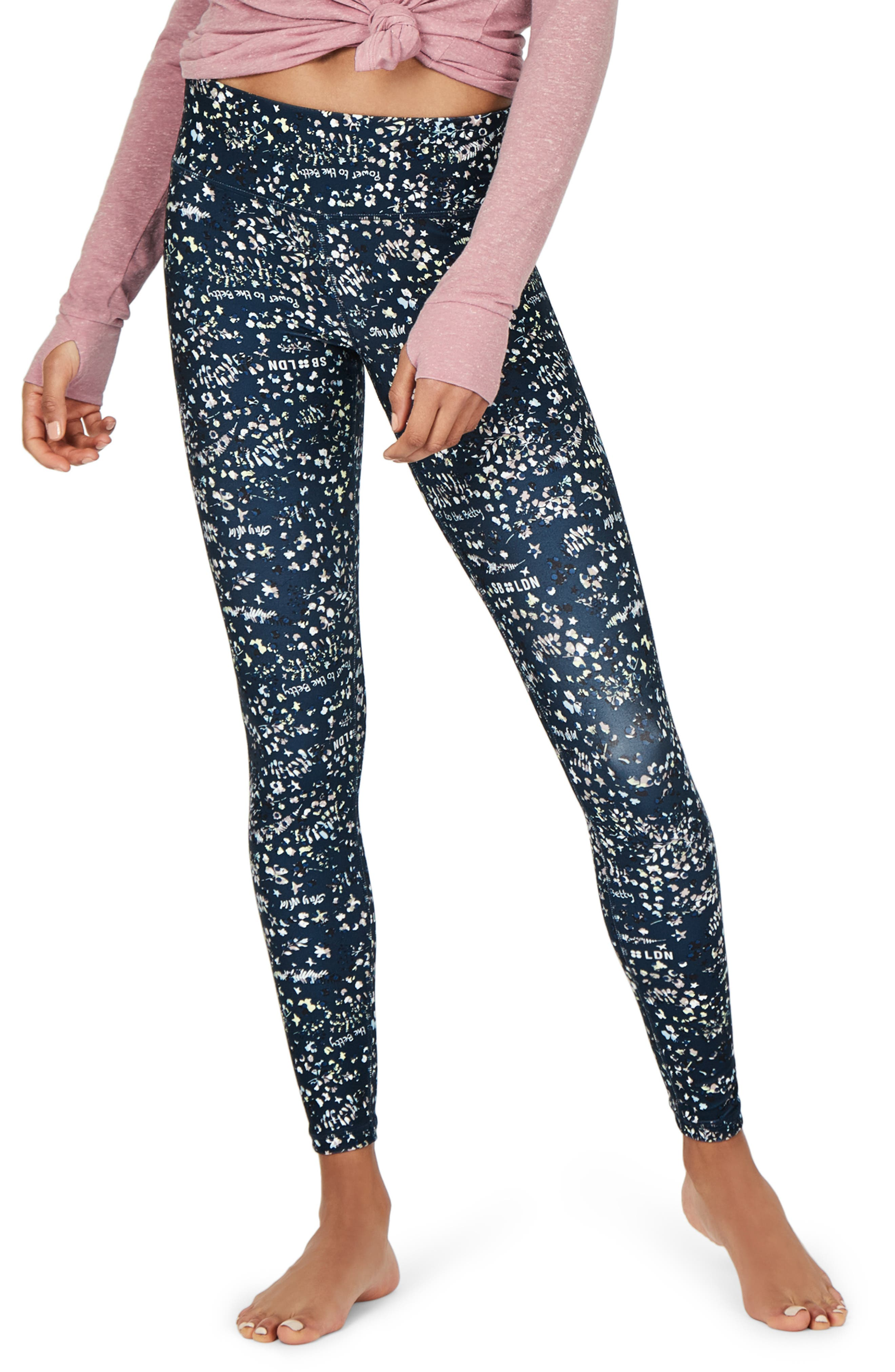 SWEATY BETTY Contour Leggings, Main, color, BEETLE BLUE STAY WILD PRINT
