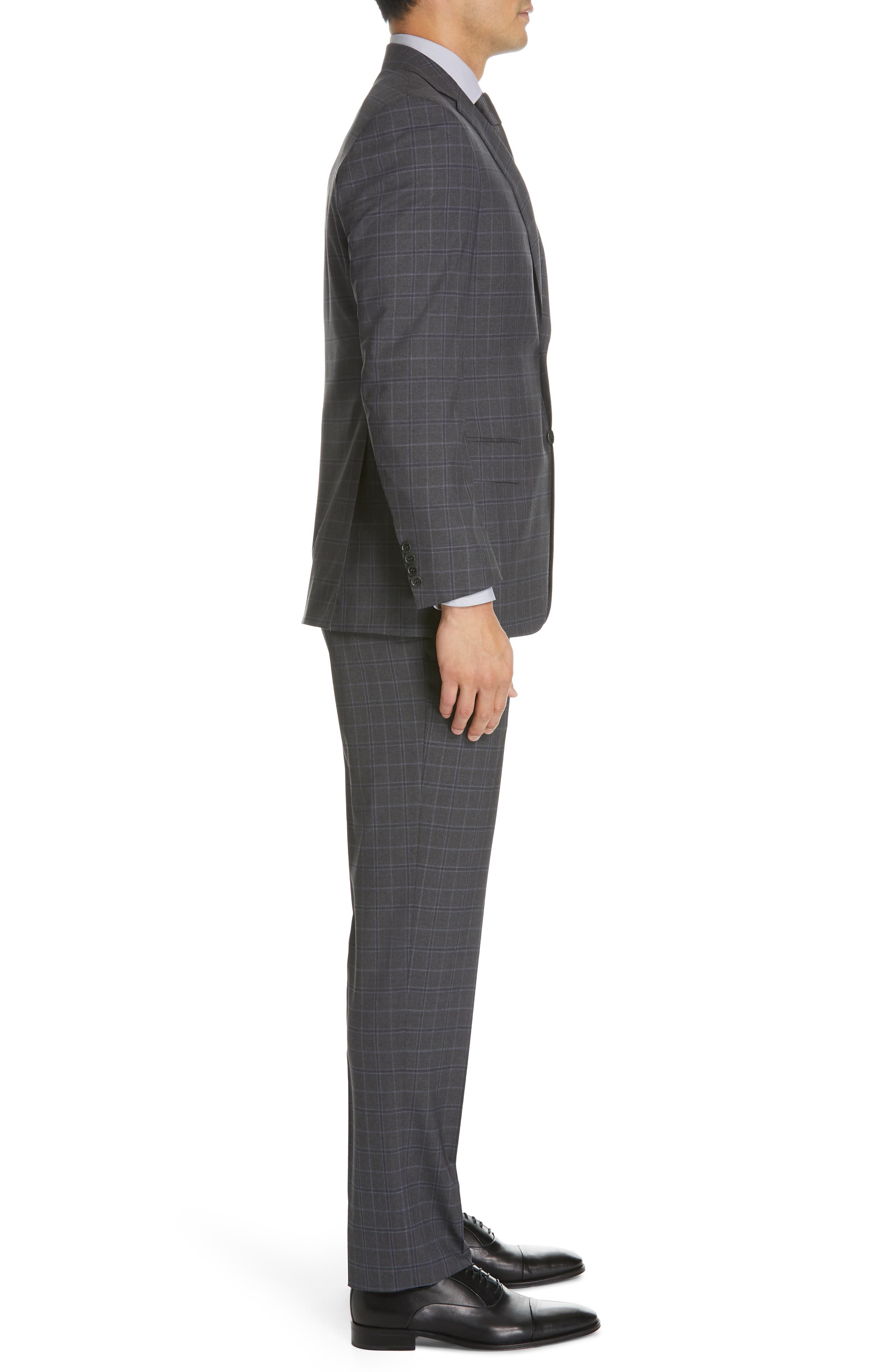 CANALI, Sienna Classic Fit Plaid Wool Suit, Alternate thumbnail 3, color, CHARCOAL