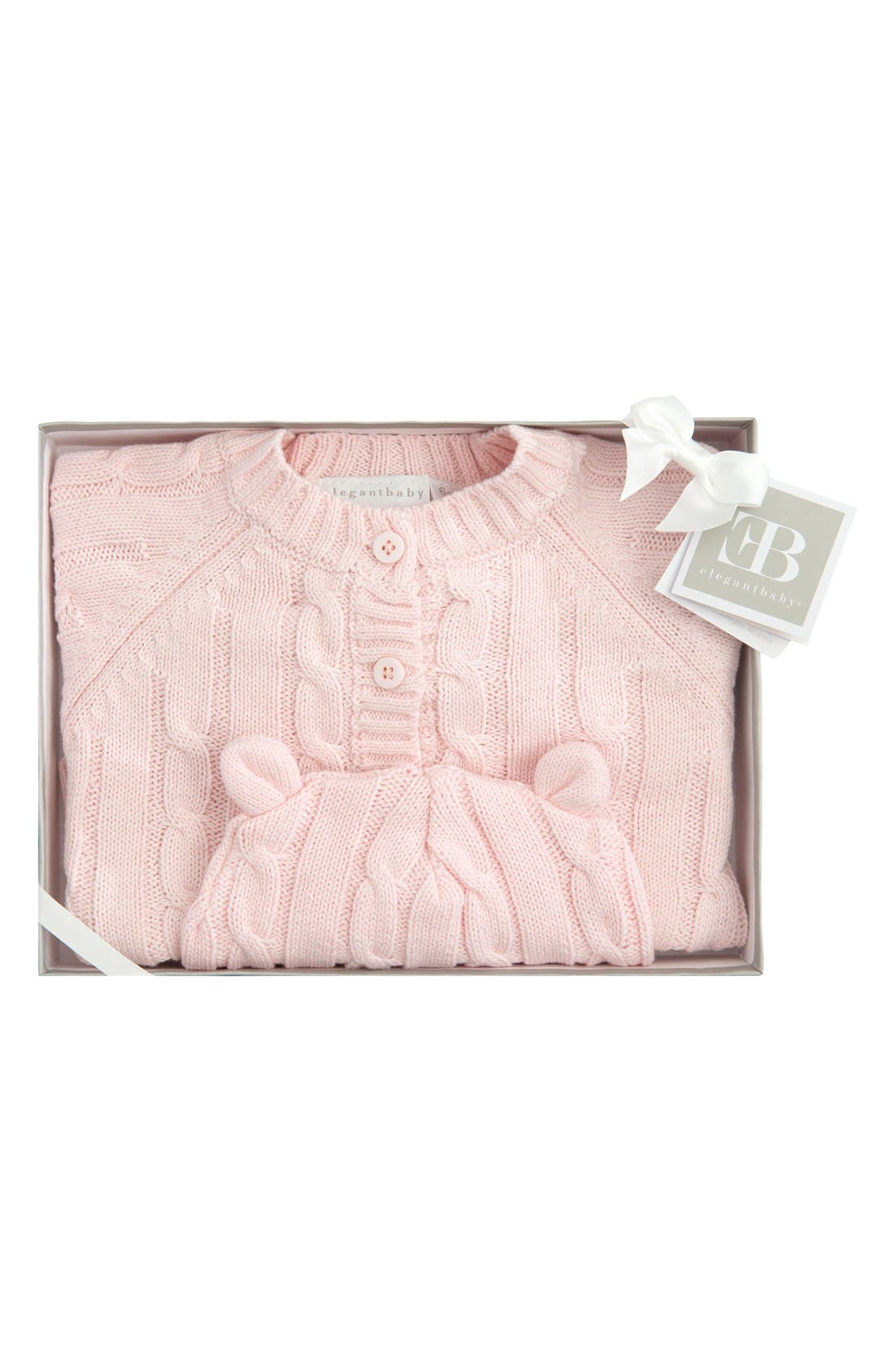 ELEGANT BABY, Cable Knit Sweater & Hat Set, Alternate thumbnail 2, color, LIGHT PINK