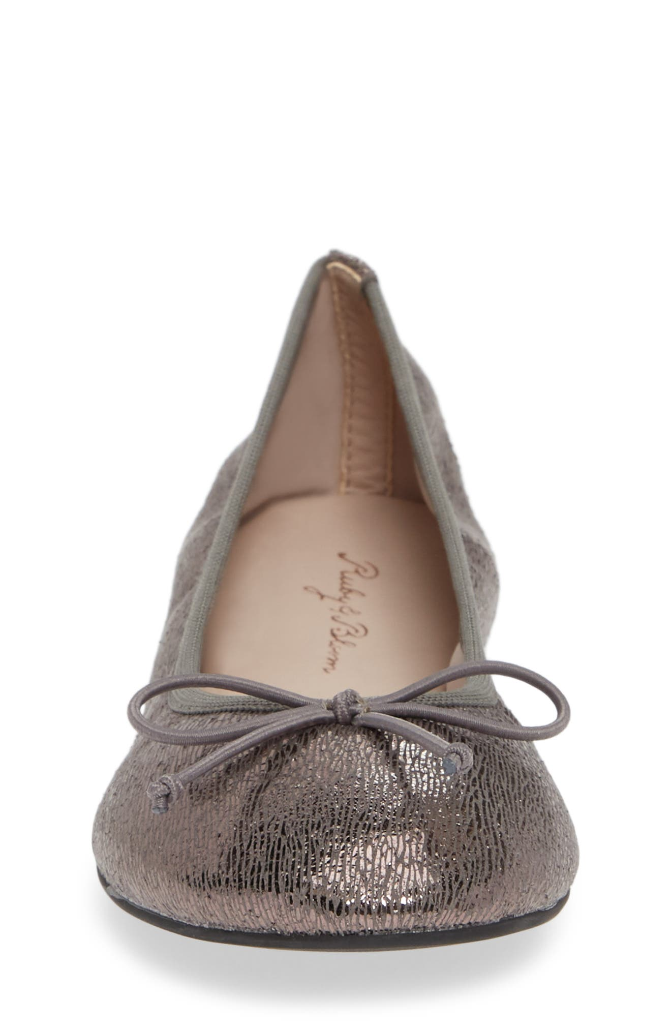 1901, Bella Ballet Flat, Alternate thumbnail 4, color, PEWTER SHIMMER FAUX LEATHER