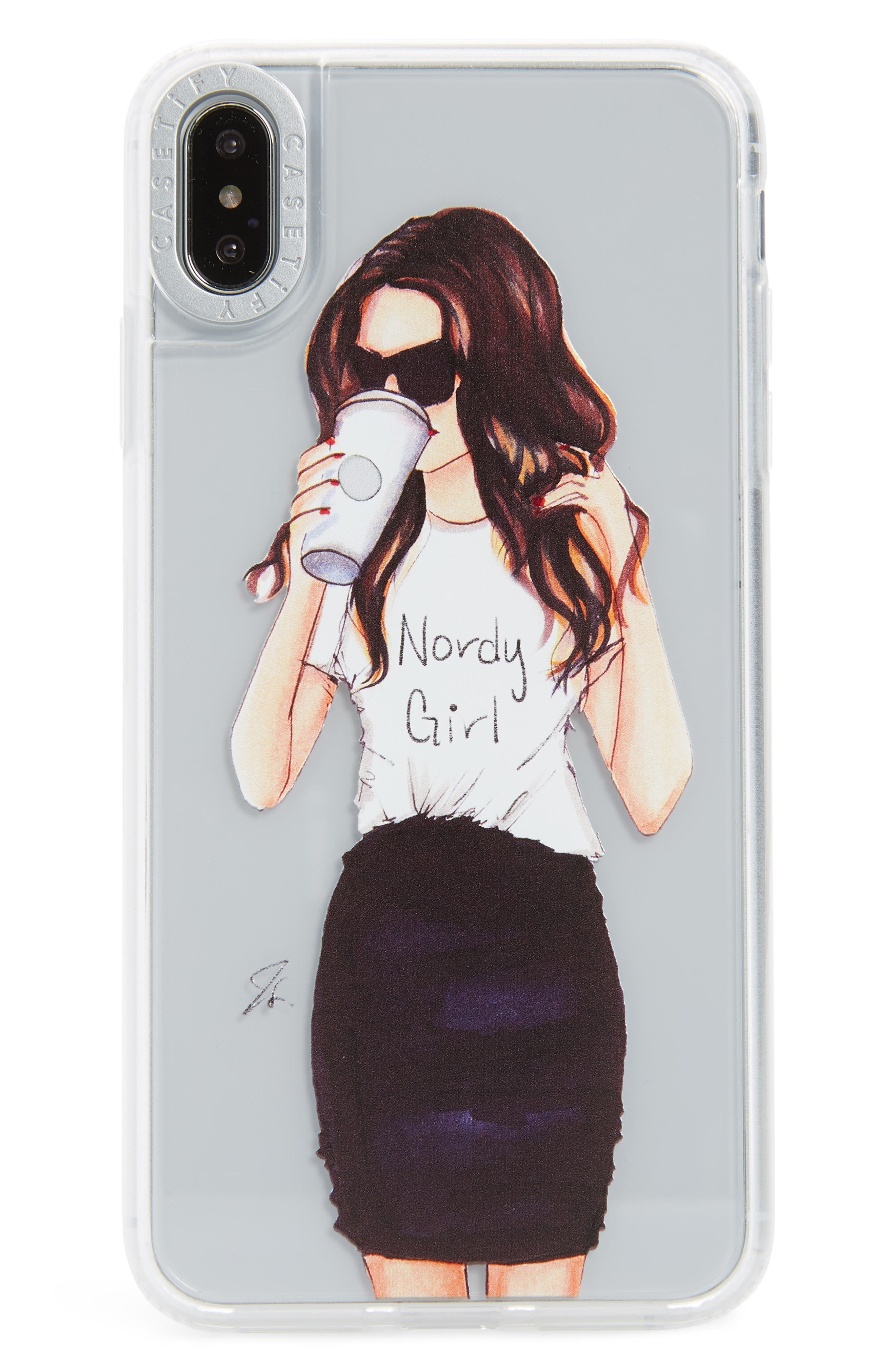 CASETIFY, Nordy Girl Grip iPhone X/Xs, XR, X Max Case, Main thumbnail 1, color, BRUNETTE