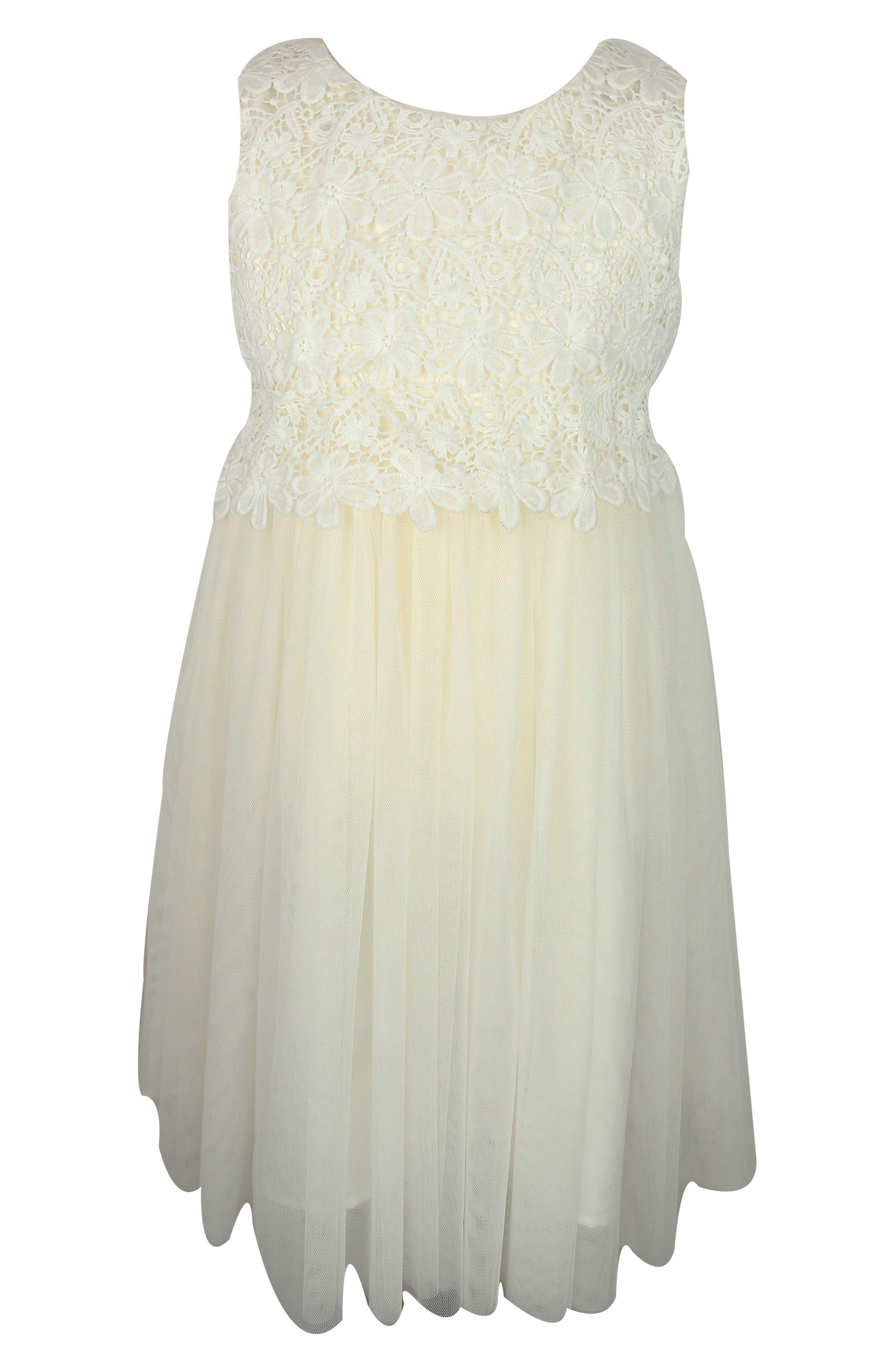 POPATU Lace Tulle Dress, Main, color, WHITE