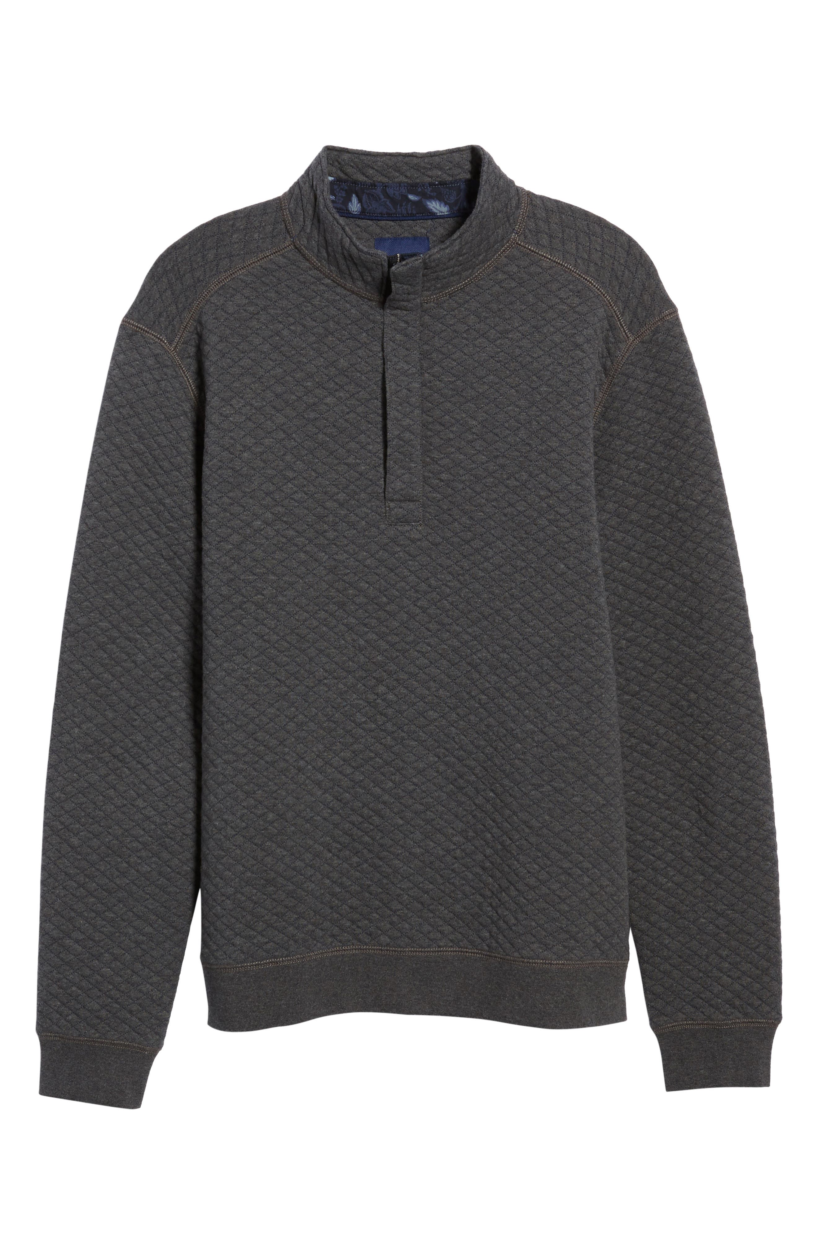 TOMMY BAHAMA, Quiltessential Standard Fit Quarter Zip Pullover, Alternate thumbnail 6, color, CHARCOAL HEATHER