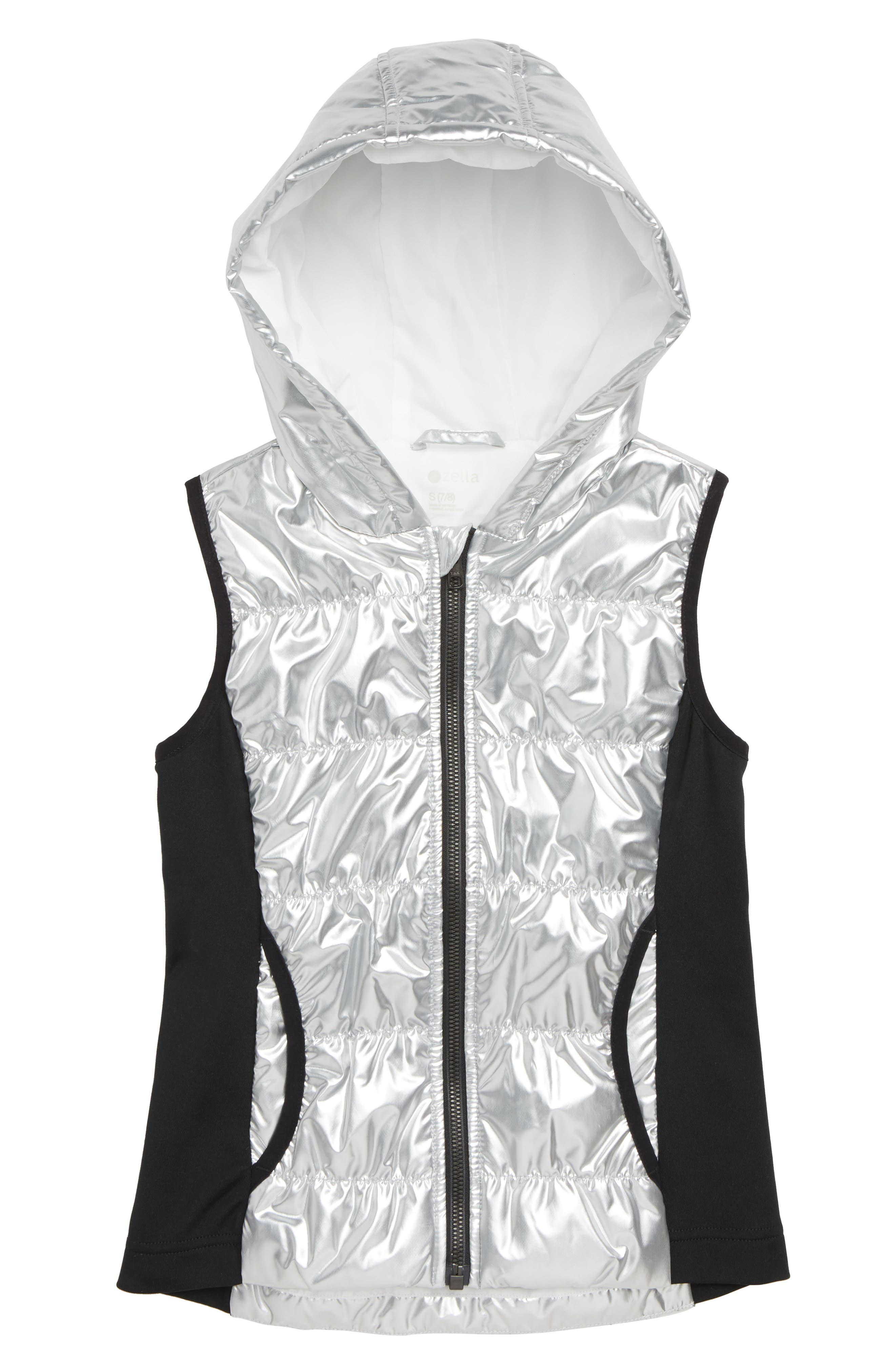 ZELLA GIRL Zella Shine Quilted Hooded Vest, Main, color, METALLIC SILVER
