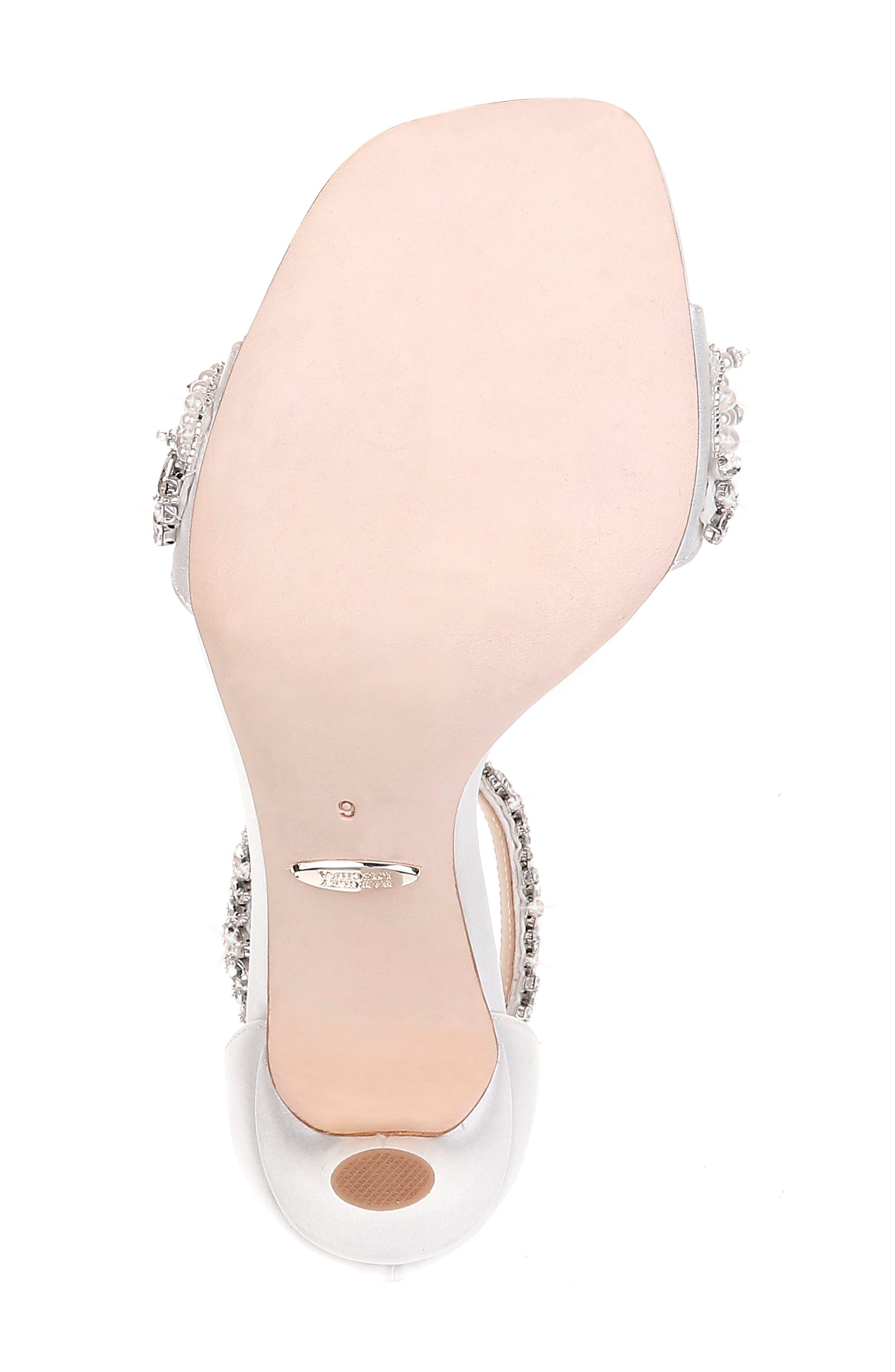 BADGLEY MISCHKA COLLECTION, Badgley Mischka Fiorenza Crystal & Imitation Pearl Embellished Sandal, Alternate thumbnail 6, color, SOFT WHITE SATIN