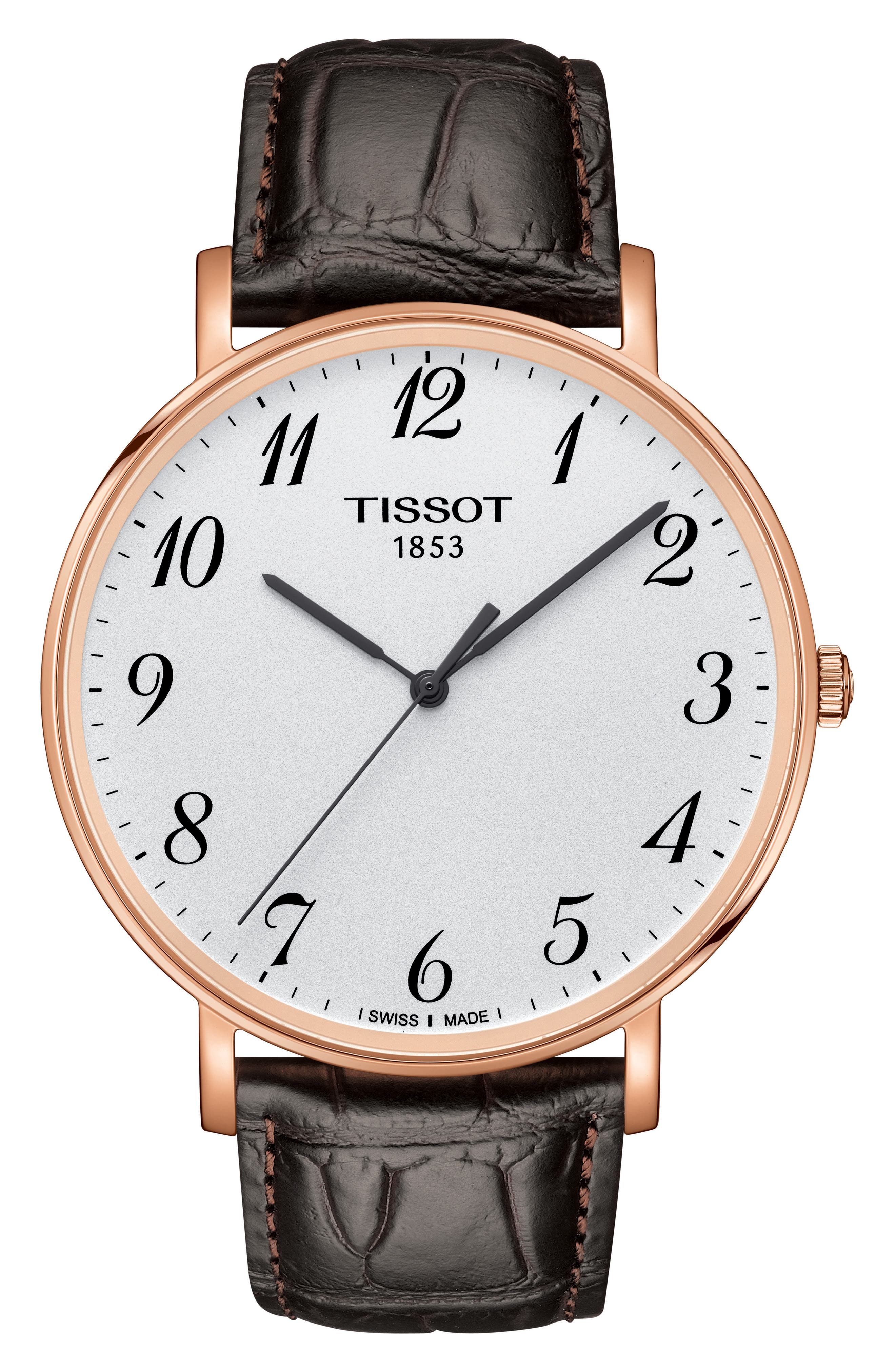 TISSOT, Everytime Leather Strap Watch, 42mm, Main thumbnail 1, color, BROWN/ WHITE/ ROSE GOLD