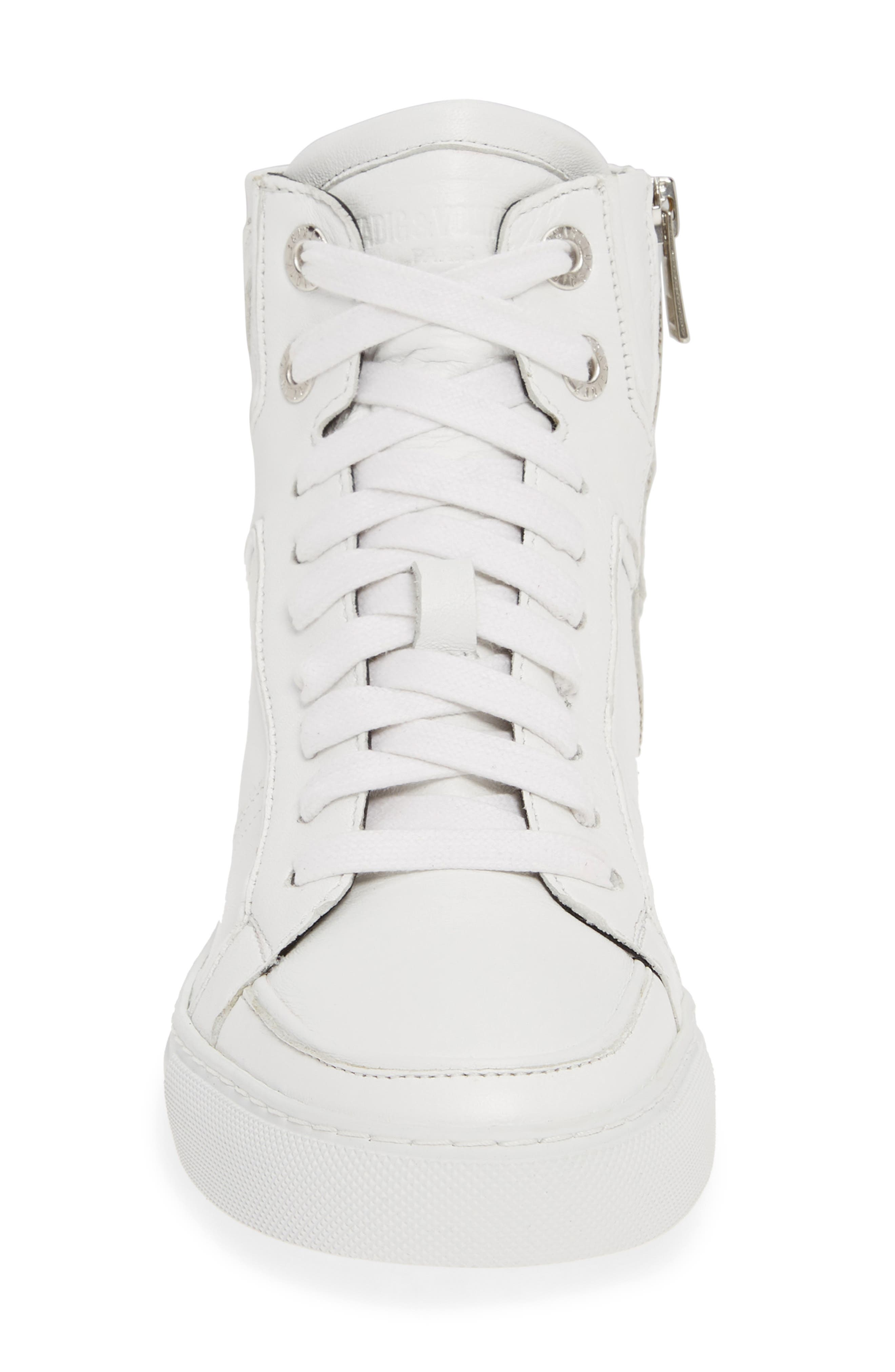 ZADIG & VOLTAIRE, Flash High Top Sneaker, Alternate thumbnail 4, color, BLANC