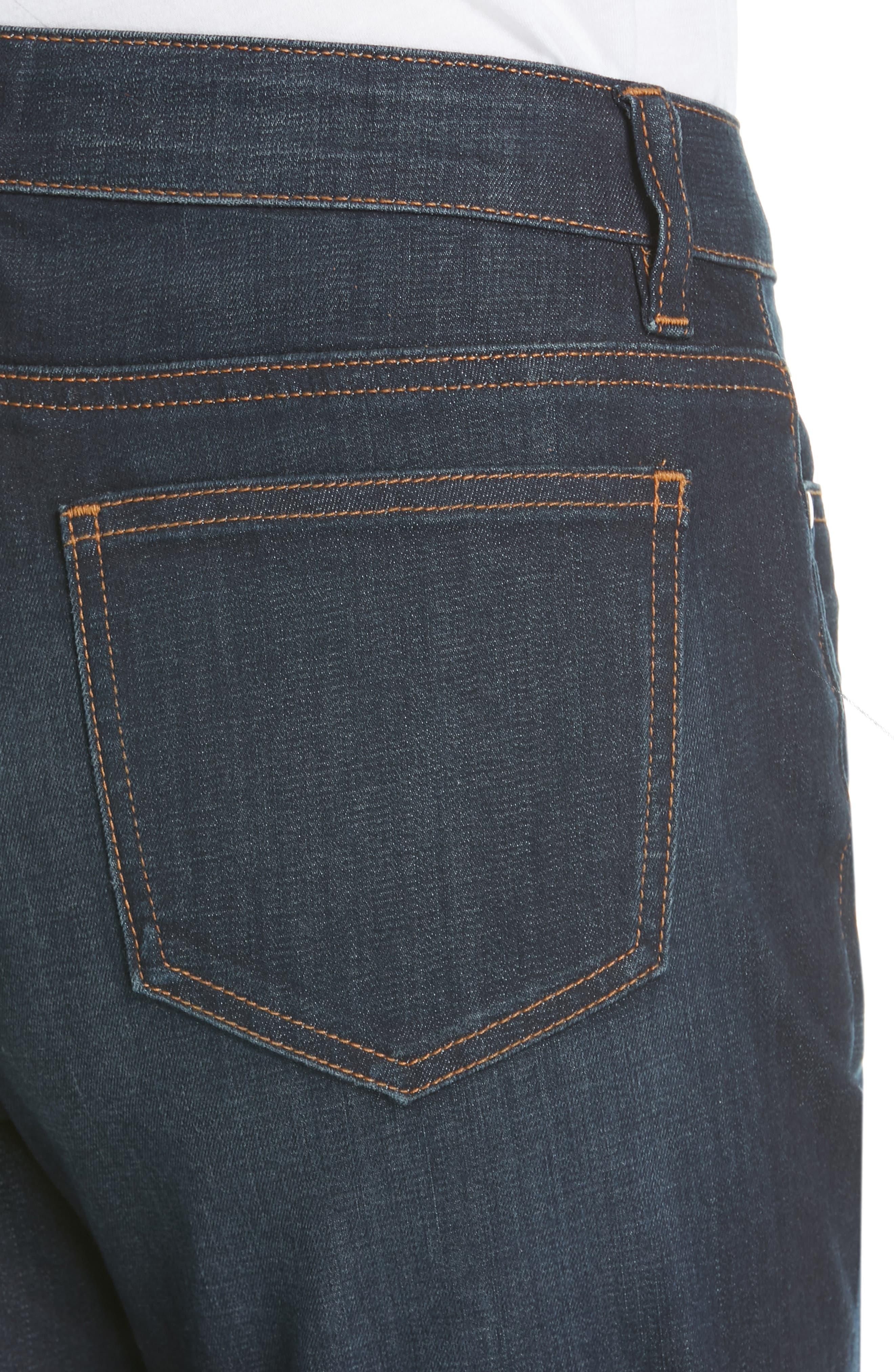 EILEEN FISHER, Raw Step Hem Slim Ankle Jeans, Alternate thumbnail 5, color, UTILITY BLUE