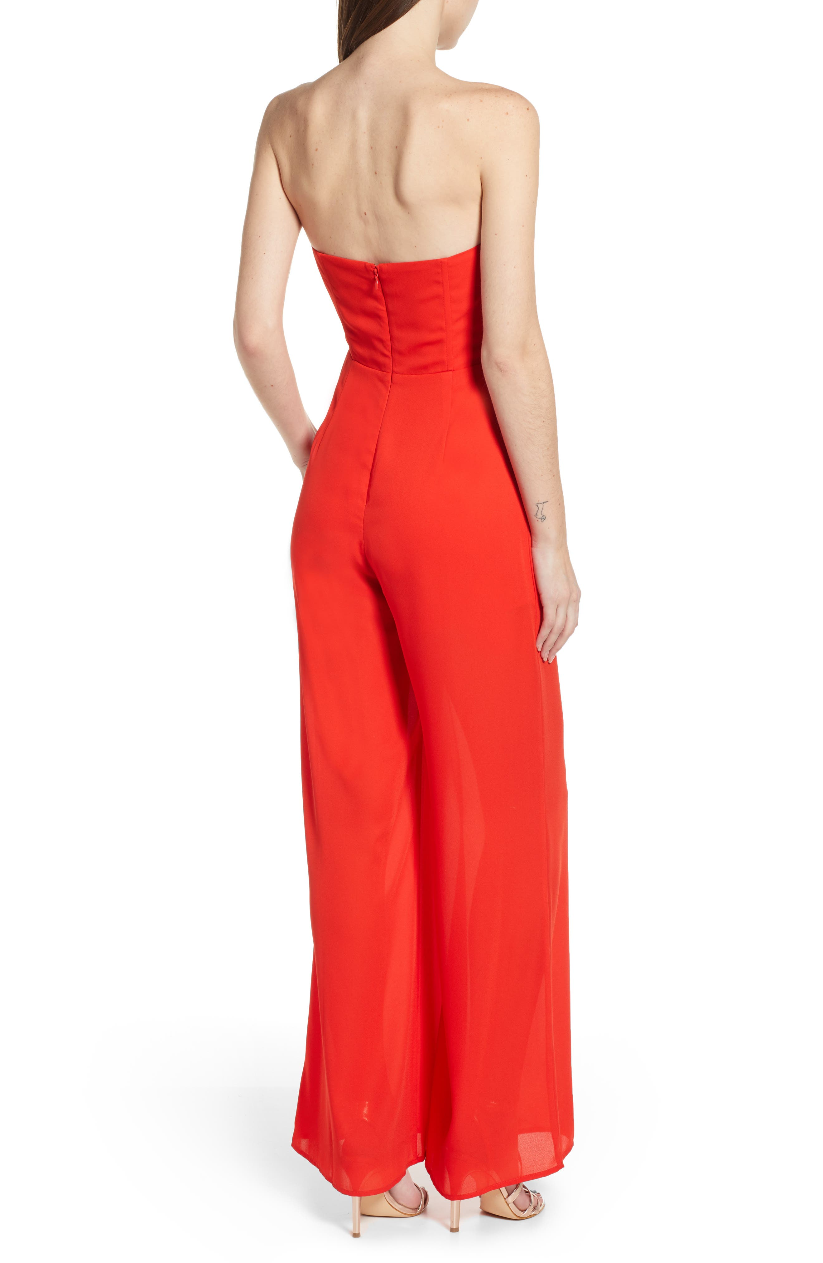LEITH, Strapless Jumpsuit, Alternate thumbnail 2, color, RED SCARLET