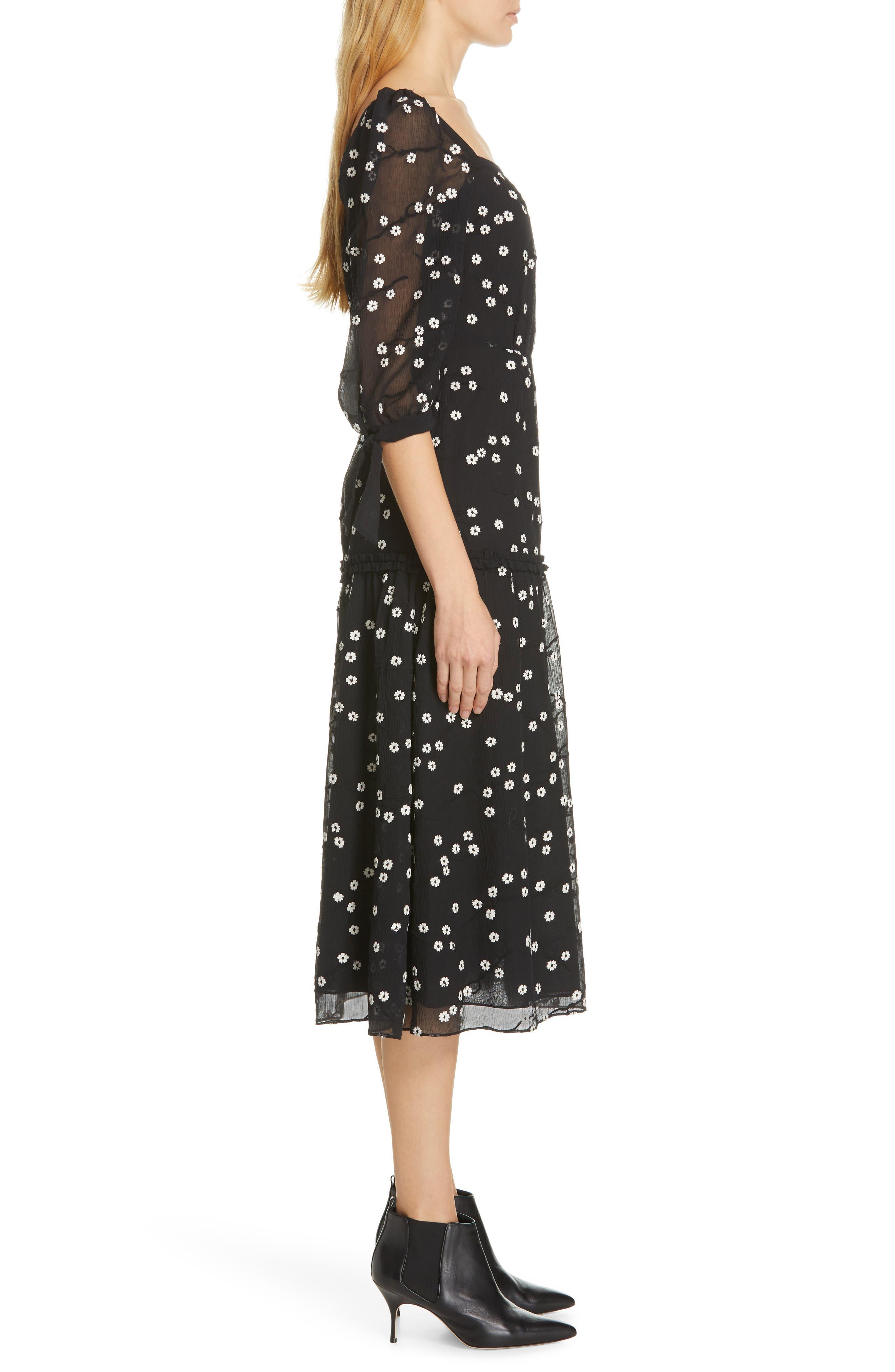REBECCA TAYLOR, Allessandra Midi Dress, Alternate thumbnail 4, color, BLACK COMBO