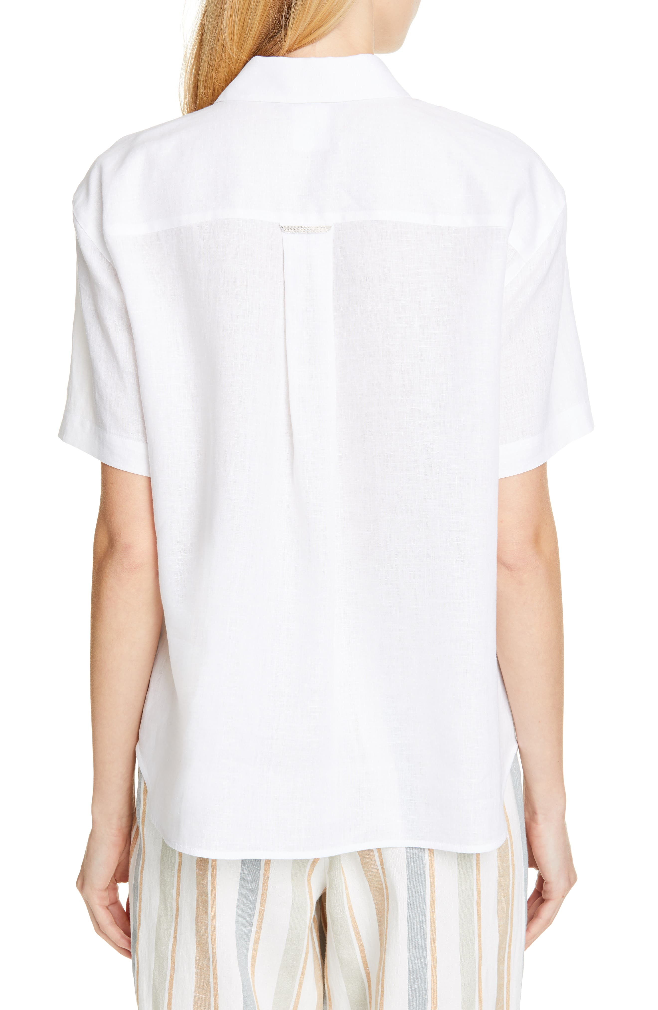 LAFAYETTE 148 NEW YORK, Justice Linen Shirt, Alternate thumbnail 2, color, WHITE