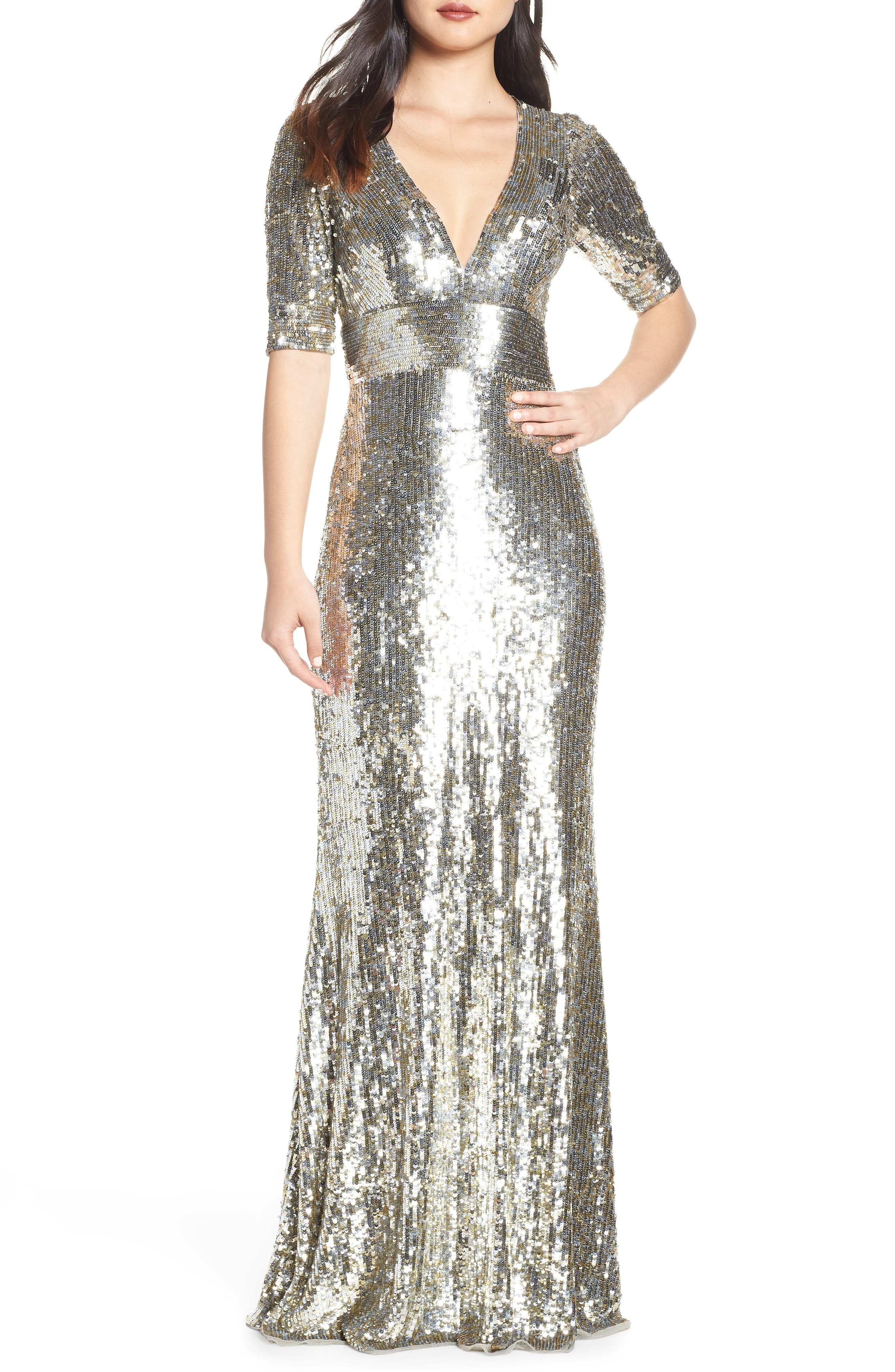 MAC DUGGAL Sequin Stripe Evening Dress, Main, color, PLATINUM