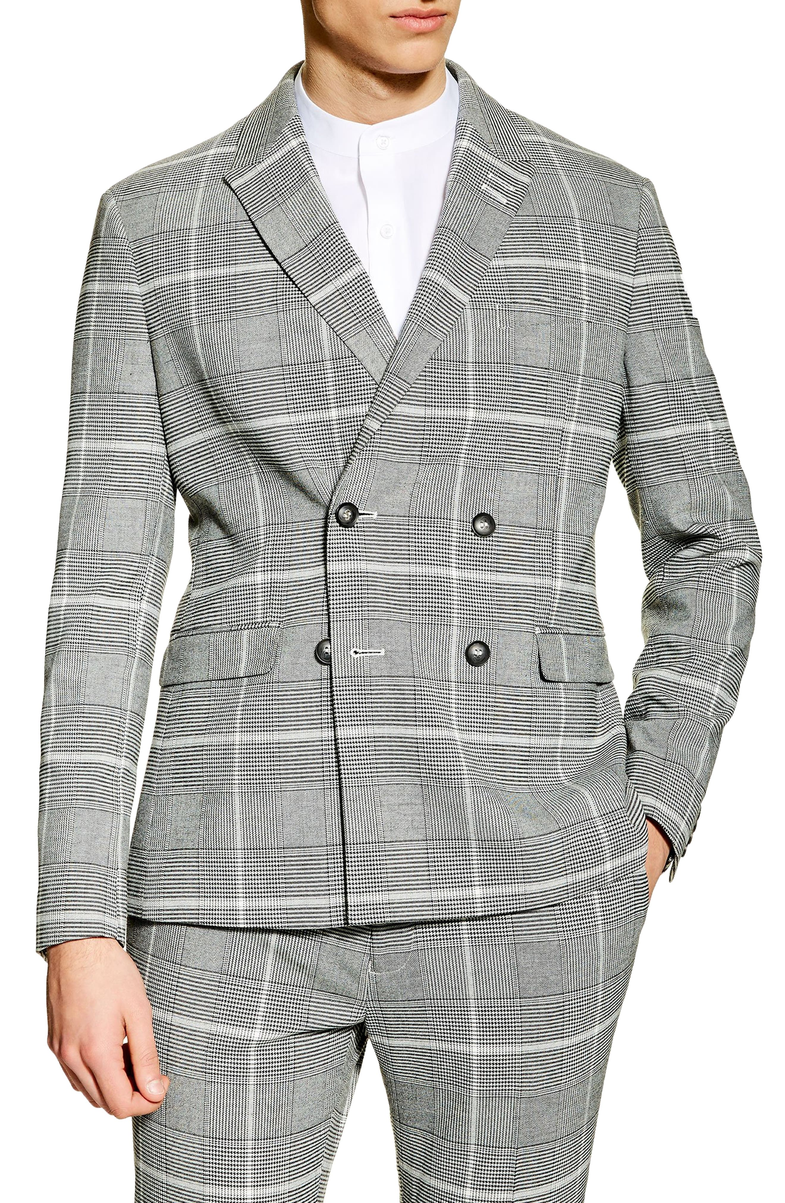 TOPMAN, Skinny Fit Check Suit Jacket, Main thumbnail 1, color, 020