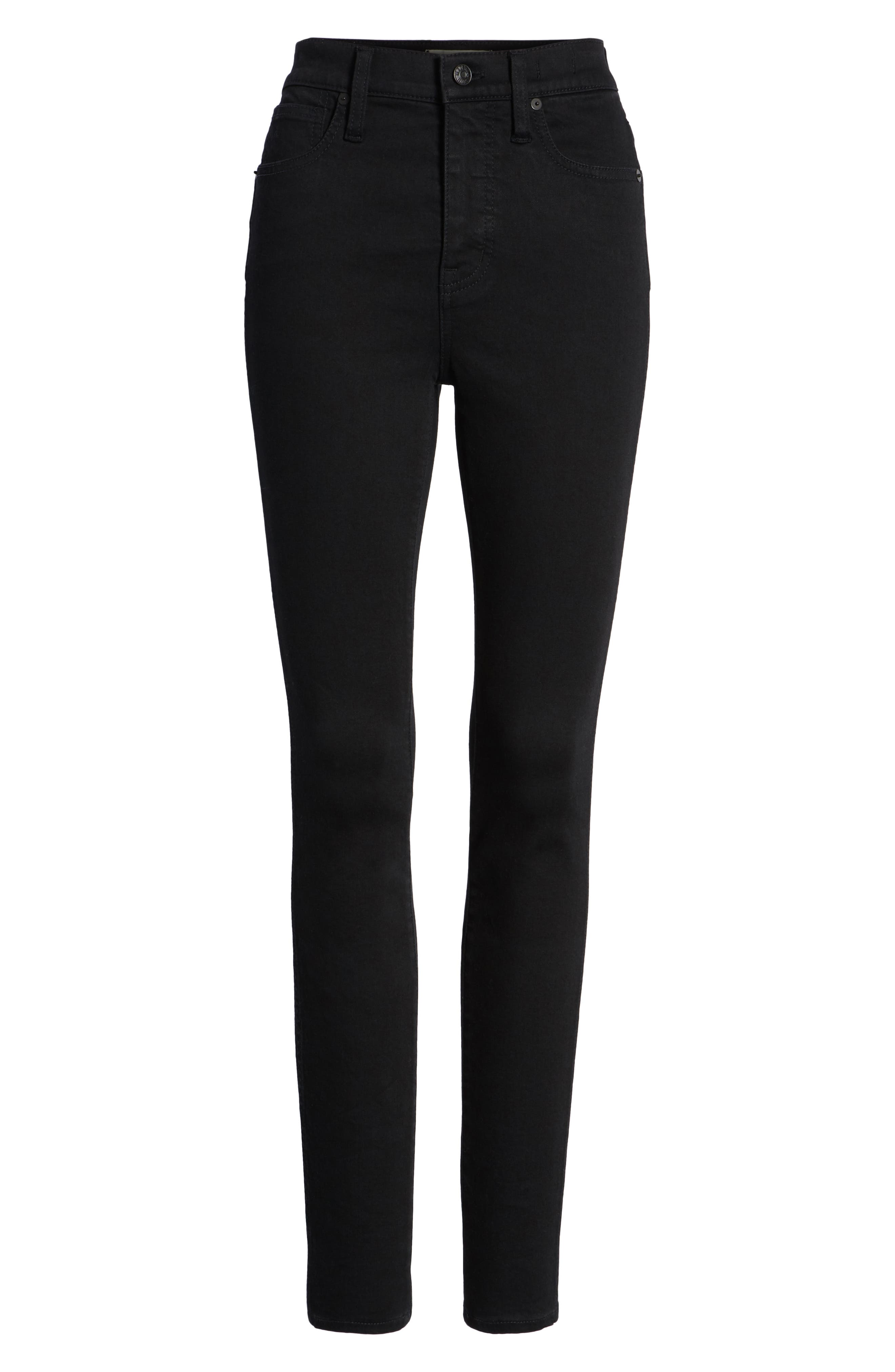 MADEWELL, 10-Inch High Waist Skinny Jeans, Alternate thumbnail 7, color, 001