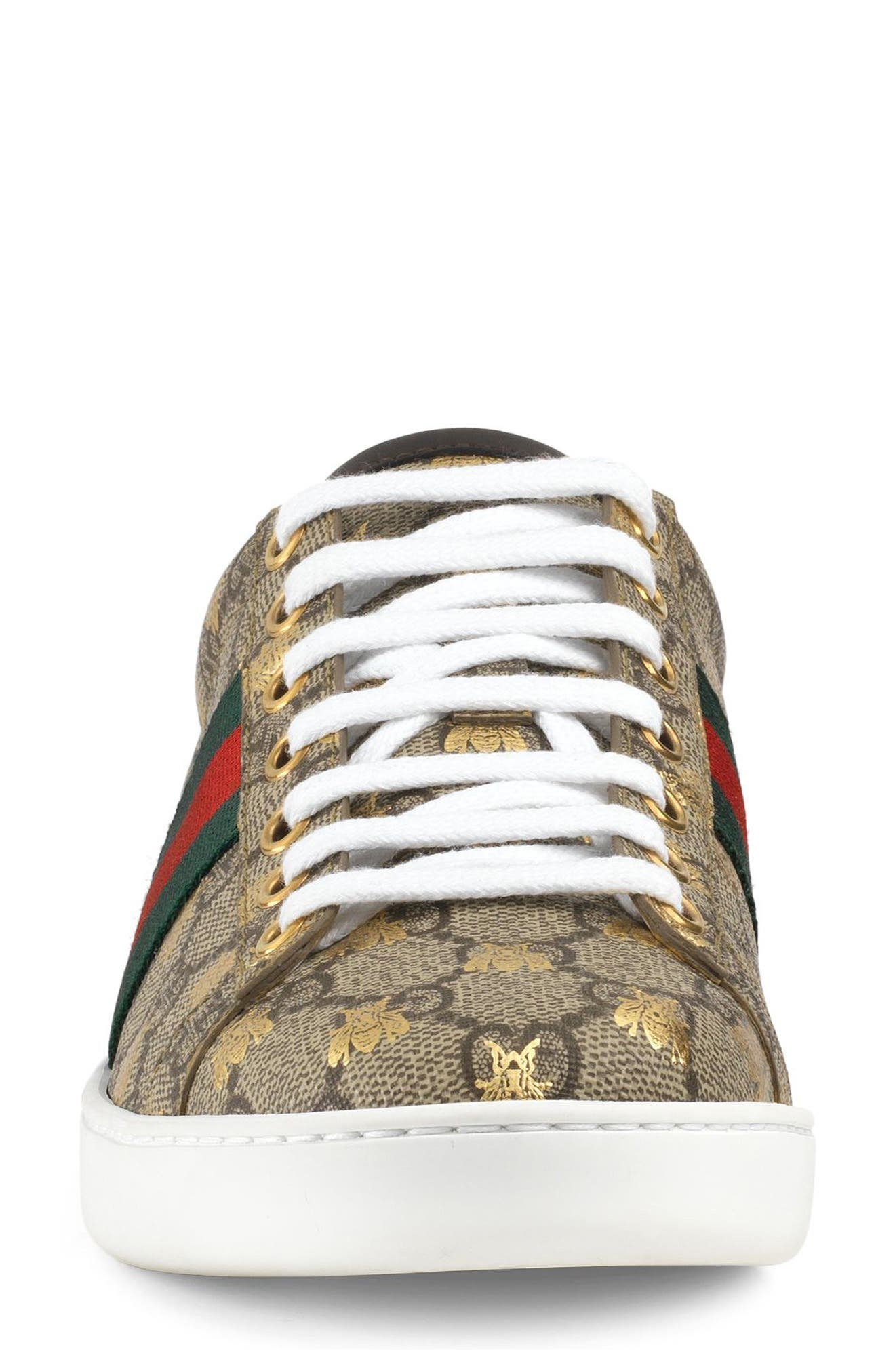 GUCCI, New Ace Monogram Bee Sneaker, Alternate thumbnail 3, color, BEIGE/ GOLD