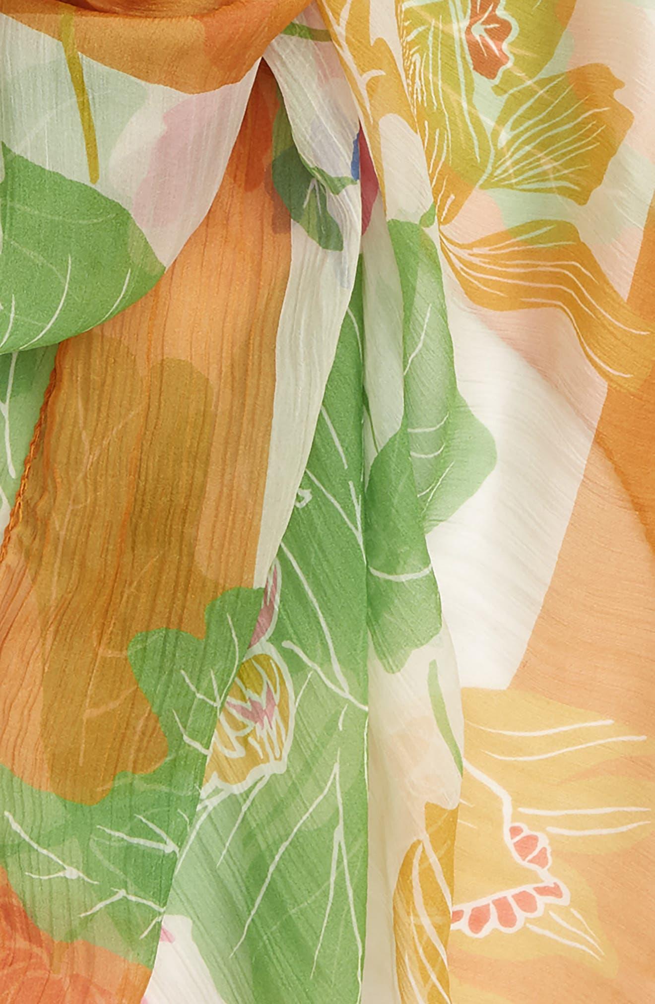 ETRO, Bombay Lily Print Square Silk Scarf, Alternate thumbnail 4, color, WHITE MULTI