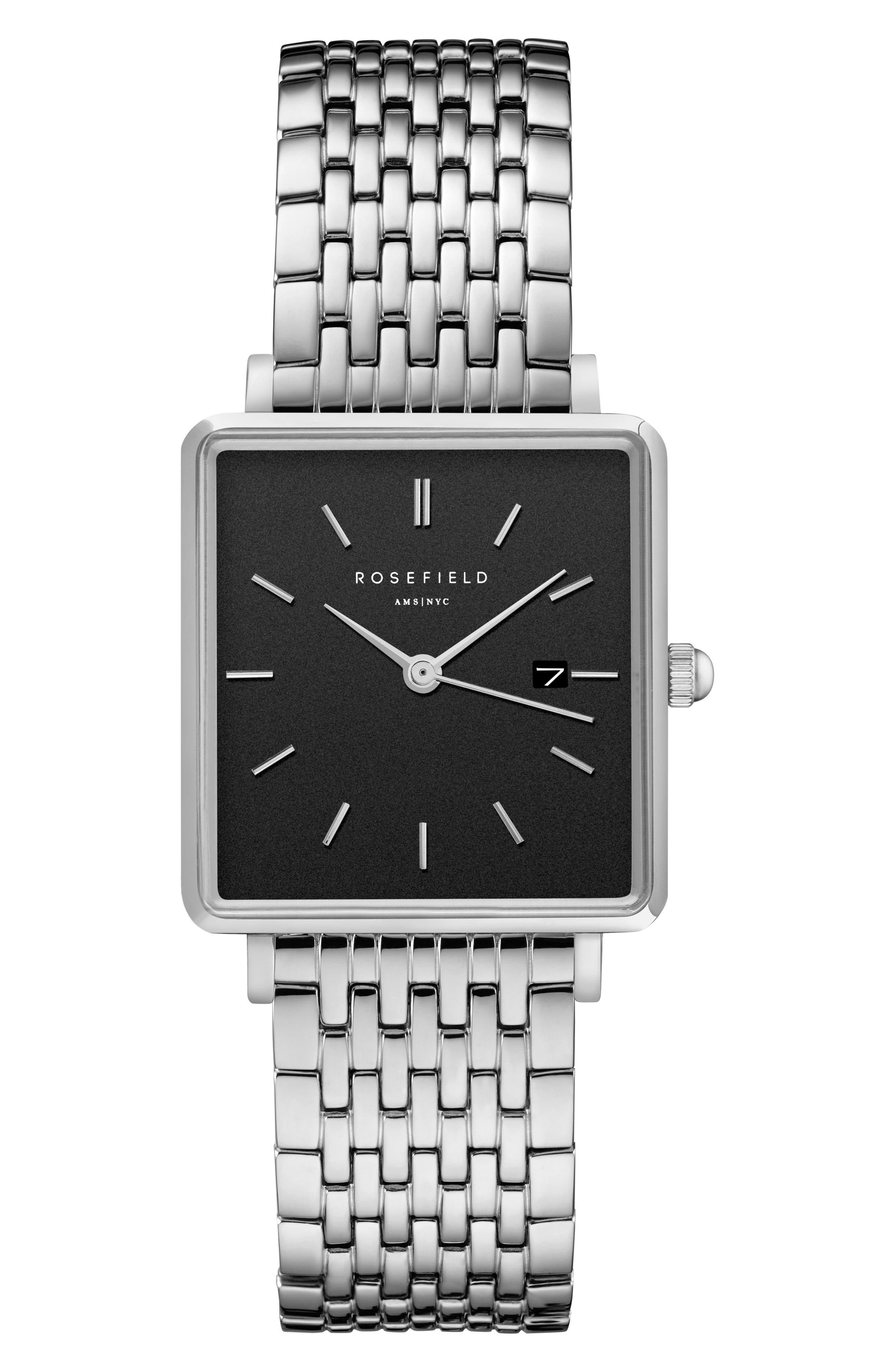 ROSEFIELD The Boxy Bracelet Watch, 26mm x 28mm, Main, color, 040