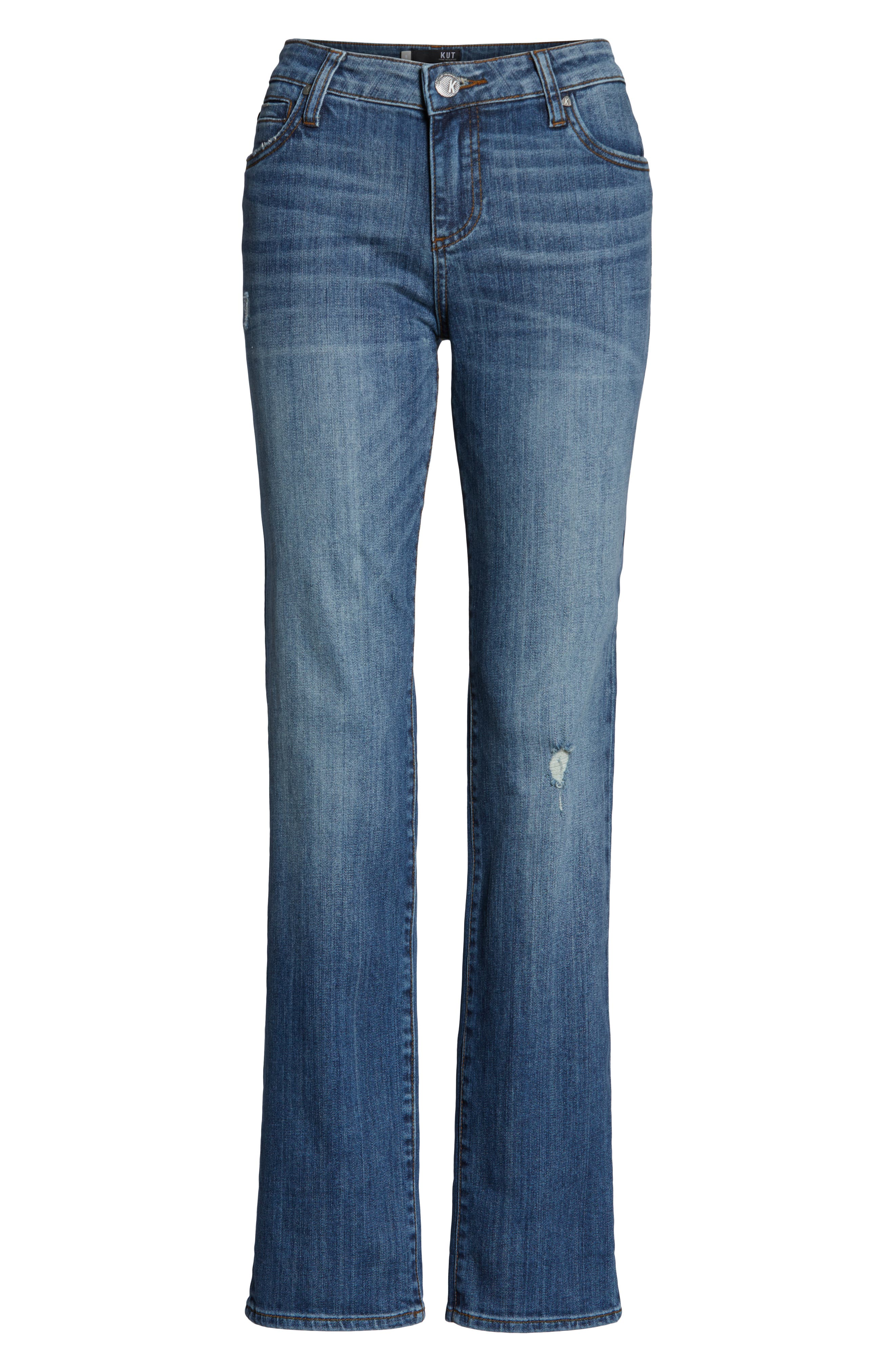 KUT FROM THE KLOTH, Catherine Distressed Roll Hem Crop Boyfriend Jeans, Alternate thumbnail 6, color, PARALLEL