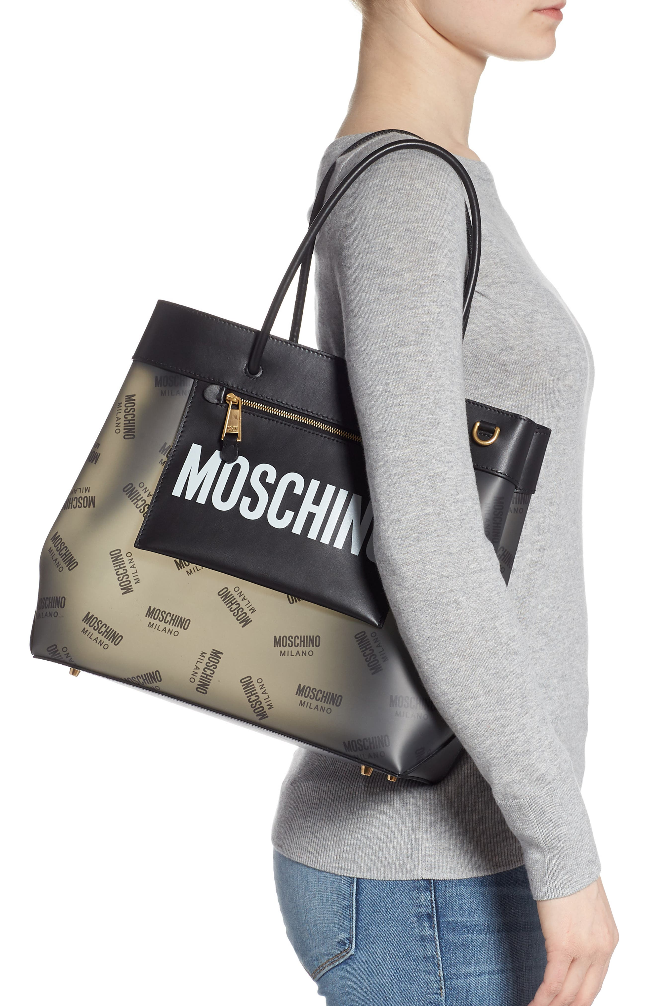 MOSCHINO, Translucent Logo Tote, Alternate thumbnail 2, color, BLACK
