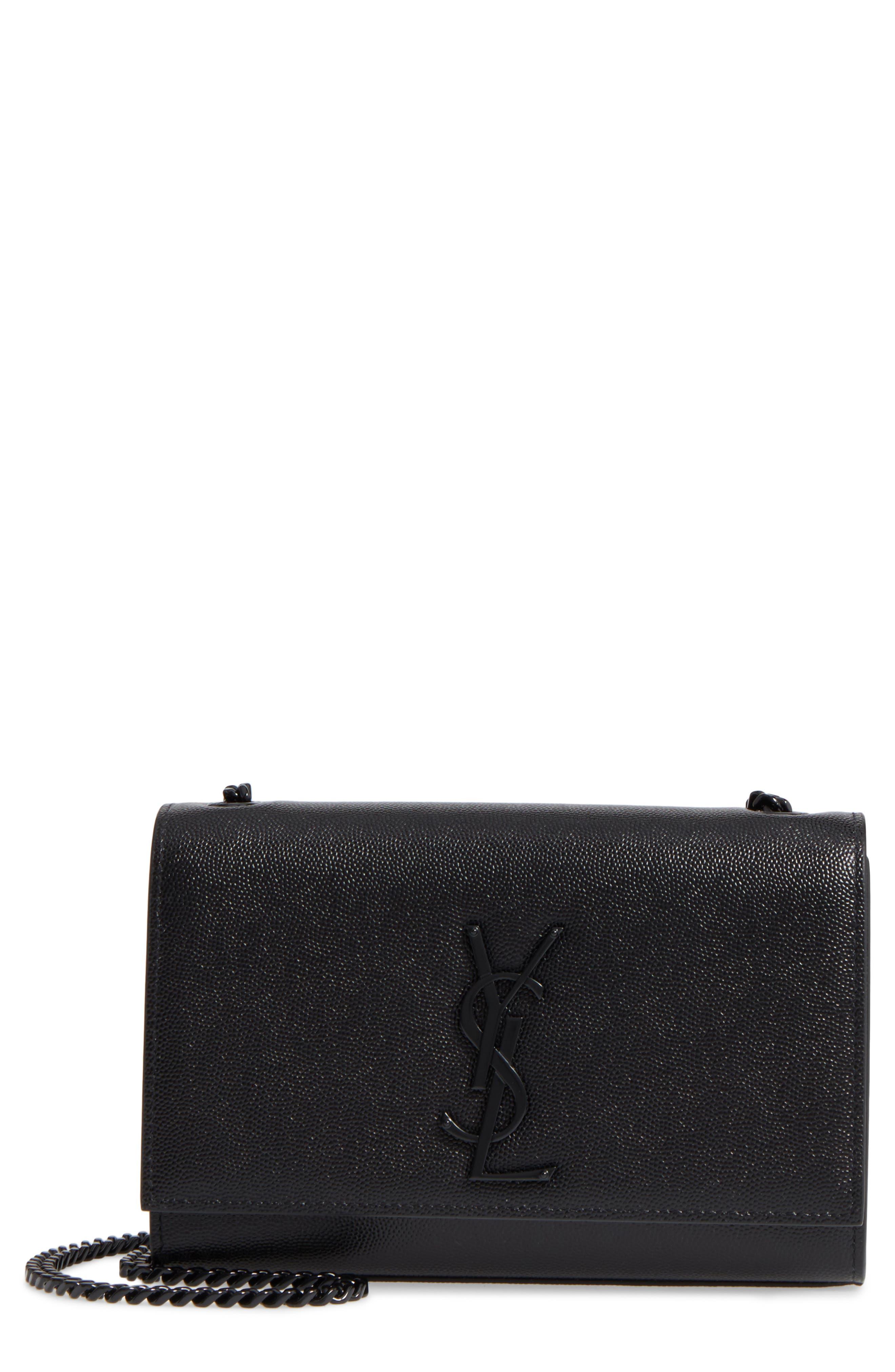 SAINT LAURENT Small Kate Leather Shoulder Bag, Main, color, BLACK