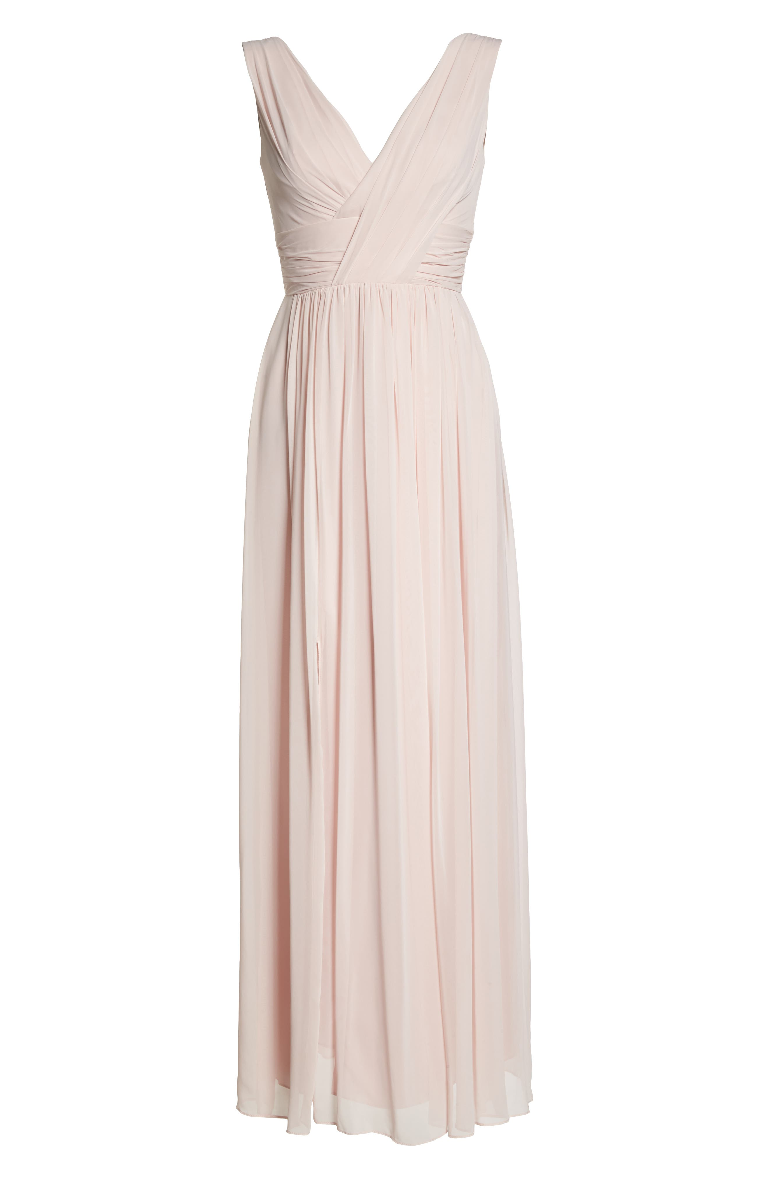 Dessy Collection Lux V-Neck Chiffon Gown, 8 (similar to 1) - Pink