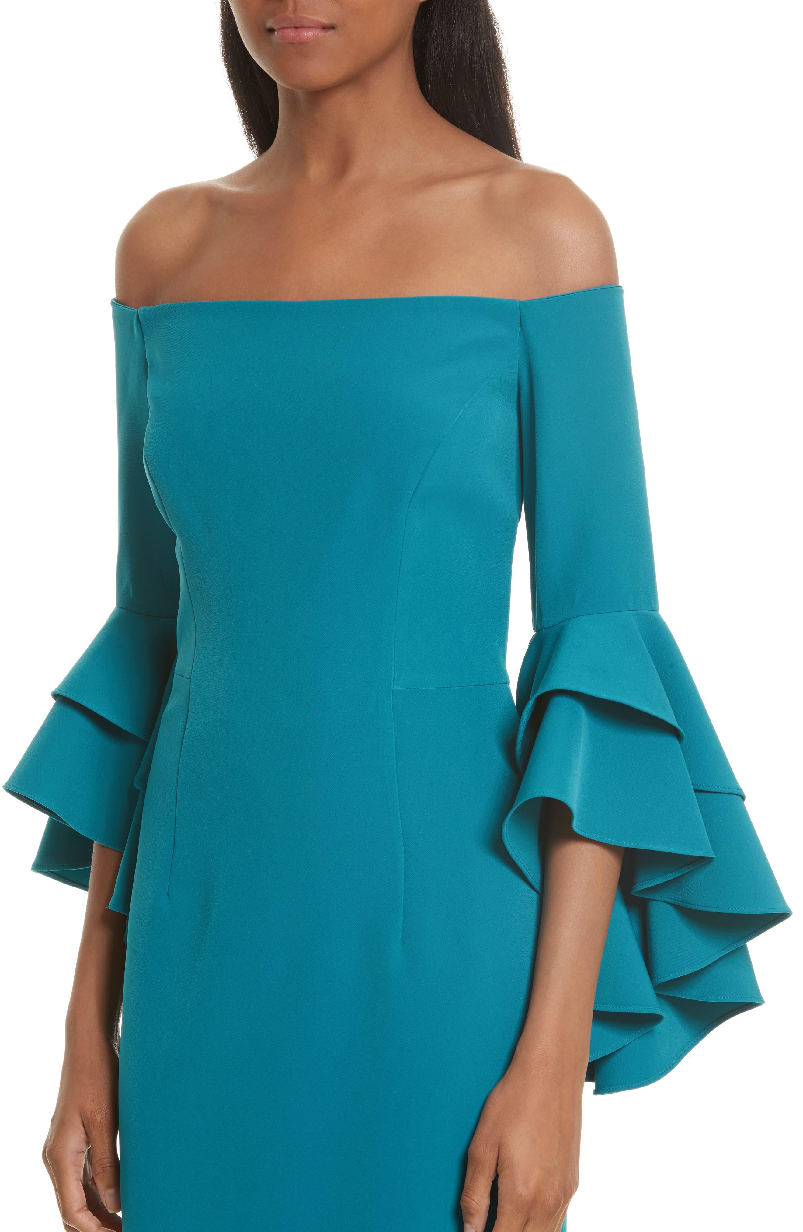 MILLY, Selena Off the Shoulder Midi Dress, Alternate thumbnail 4, color, 442