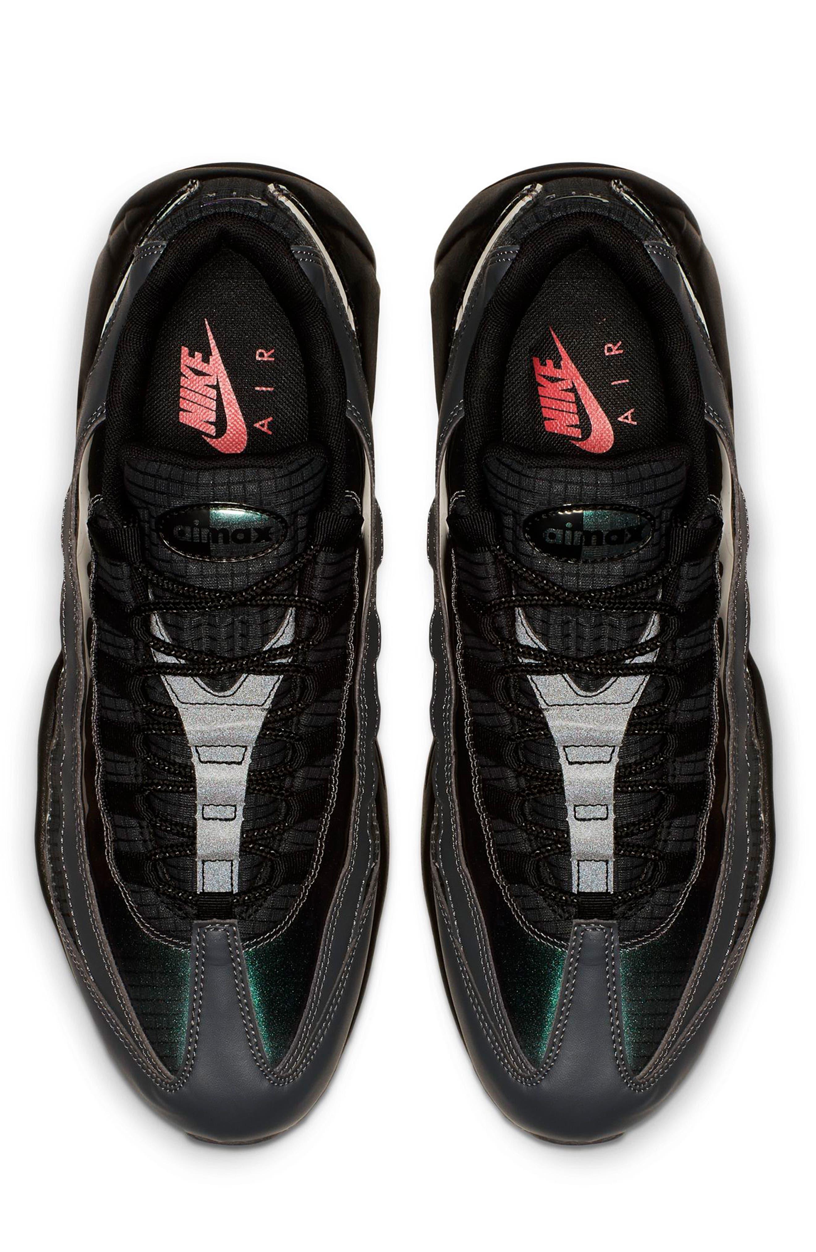 NIKE, Air Max 95 LV8 Sneaker, Alternate thumbnail 4, color, BLACK/ EMBER GLOW/ DARK GREY