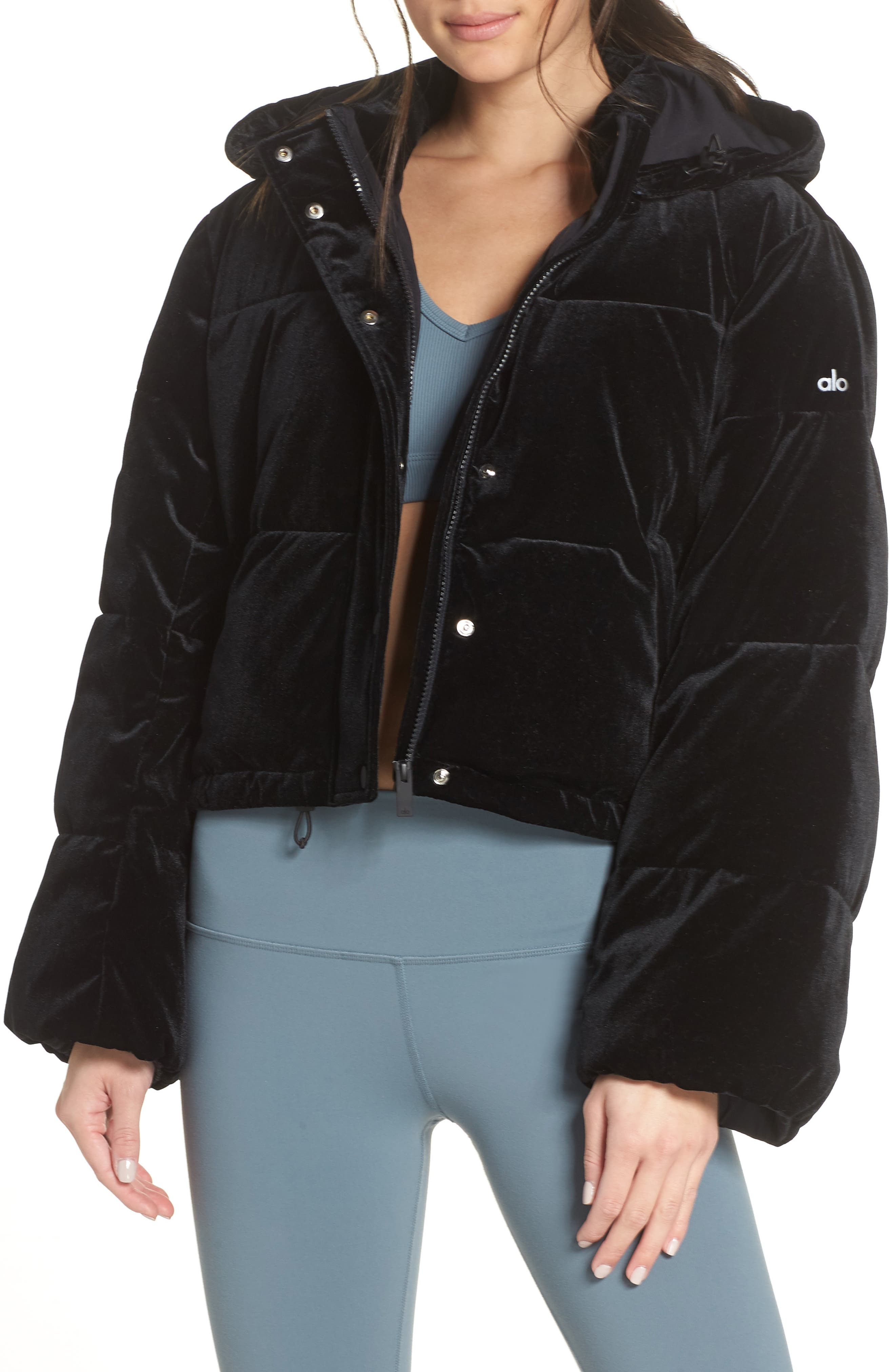 ALO, Velvet Puffer Jacket, Main thumbnail 1, color, 001