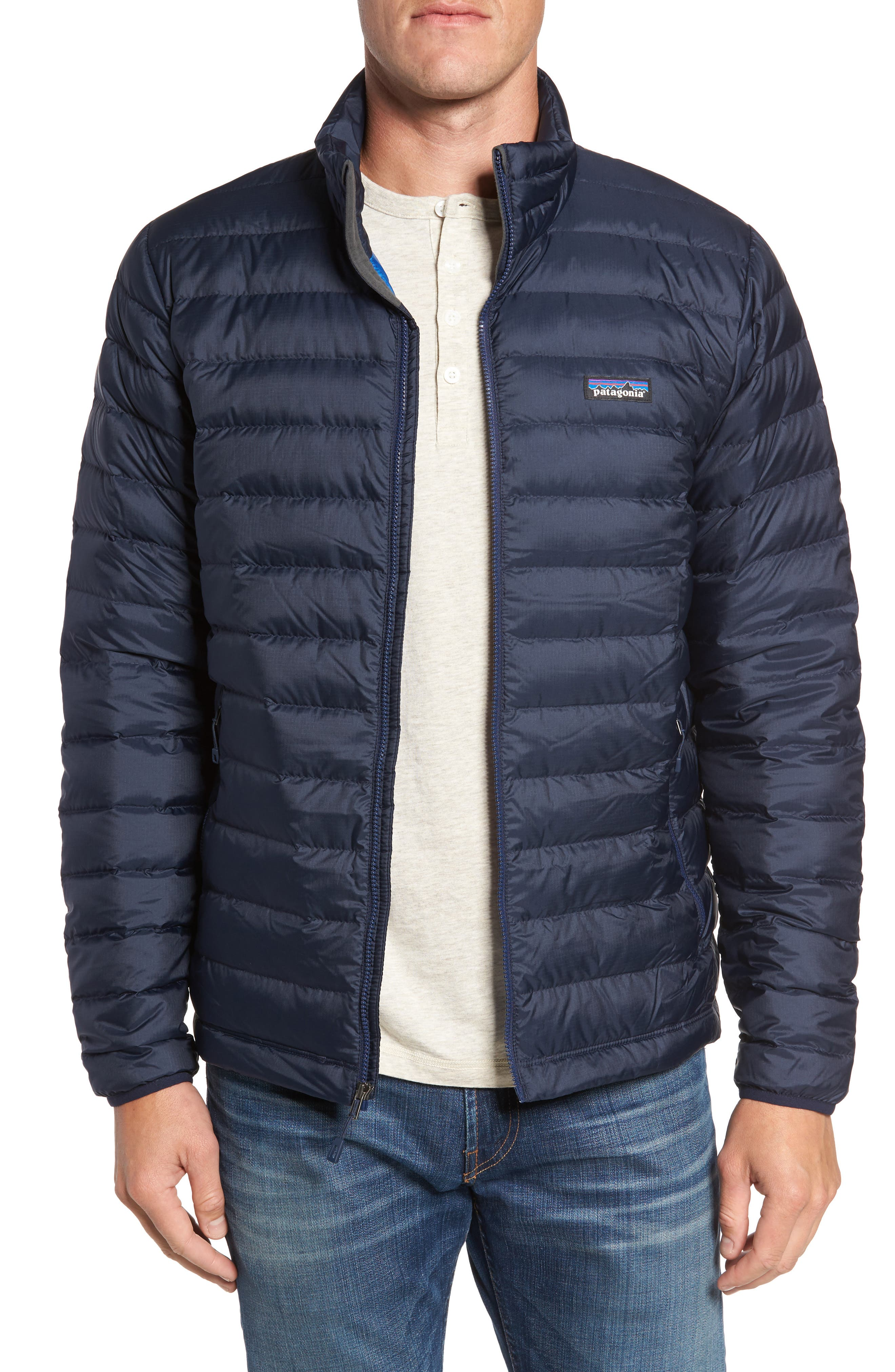 PATAGONIA Water Repellent Down Jacket, Main, color, NAVY BLUE W/ NAVY BLUE