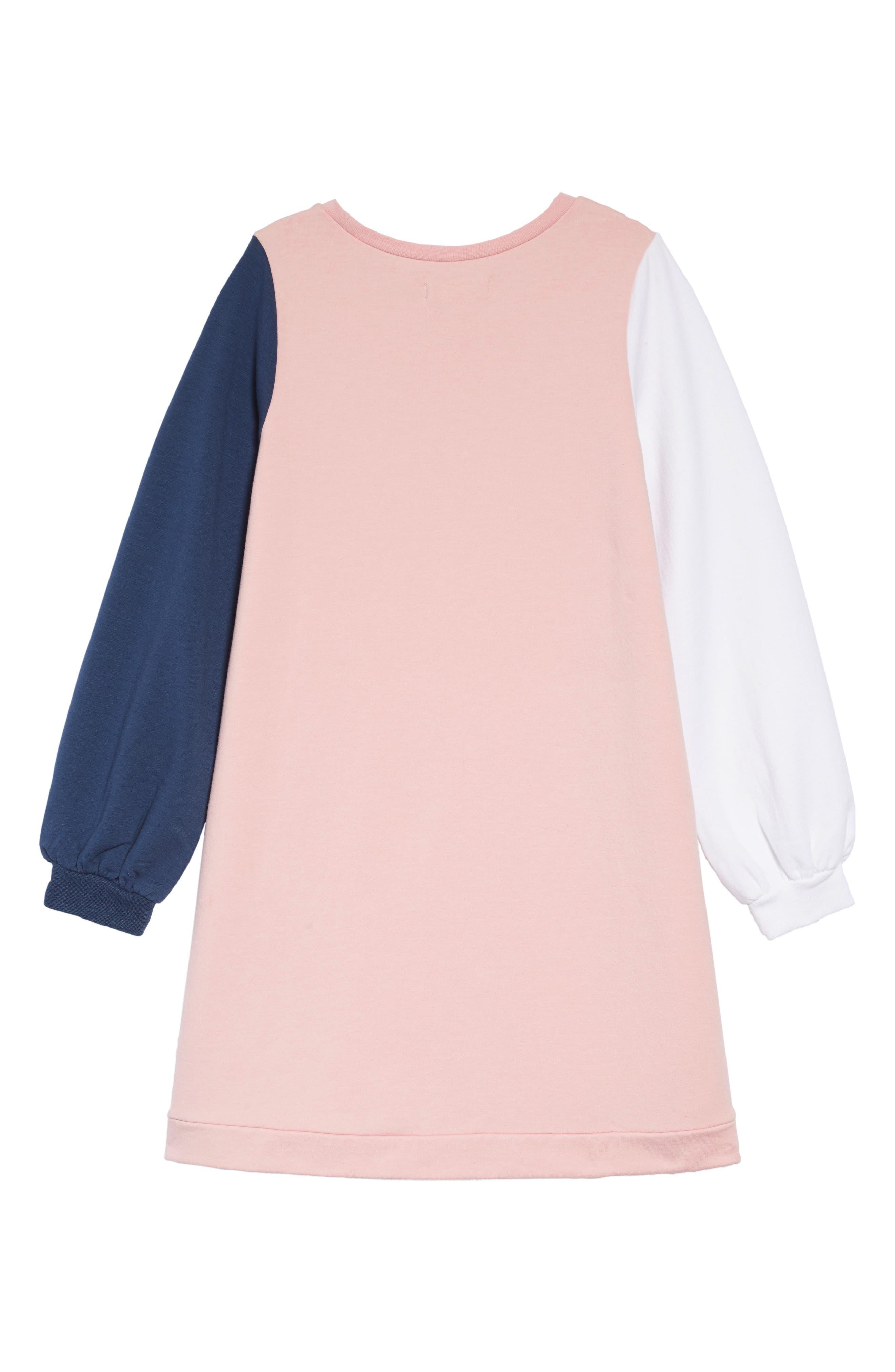 TUCKER + TATE, Colorblock Fleece Dress, Alternate thumbnail 2, color, 680