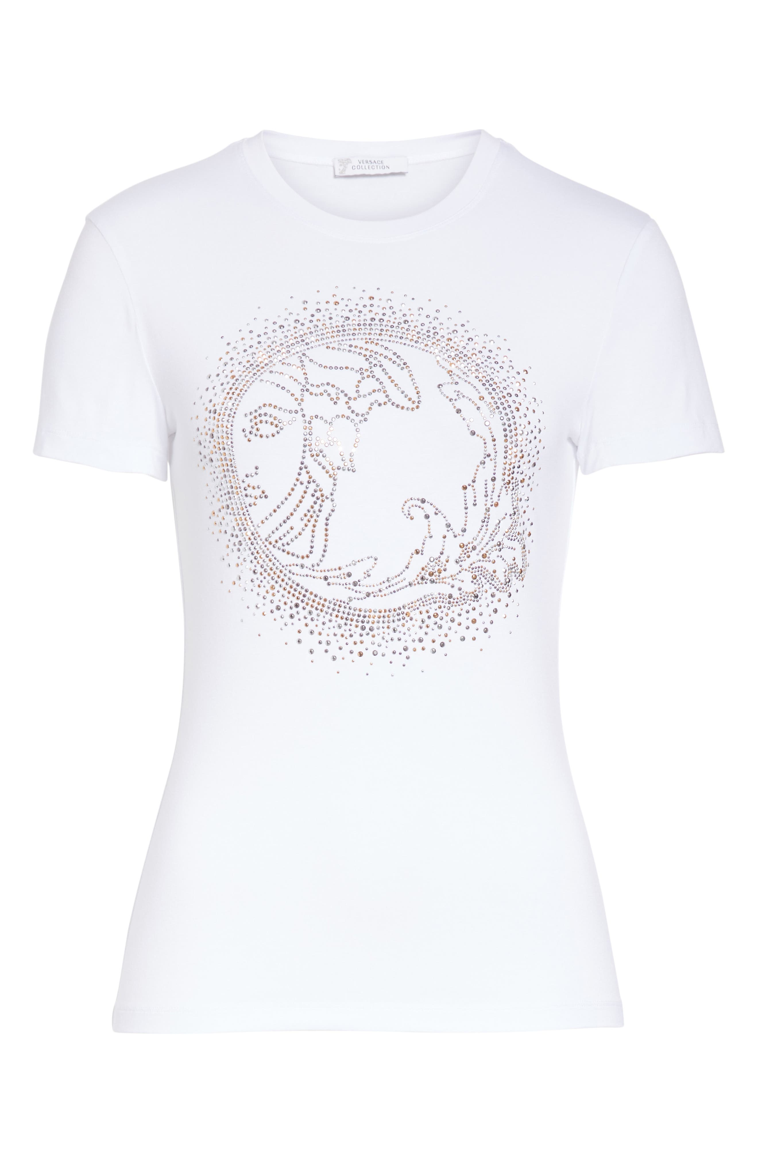 VERSACE COLLECTION, Medusa Crystal Embellished Jersey Tee, Alternate thumbnail 6, color, 111