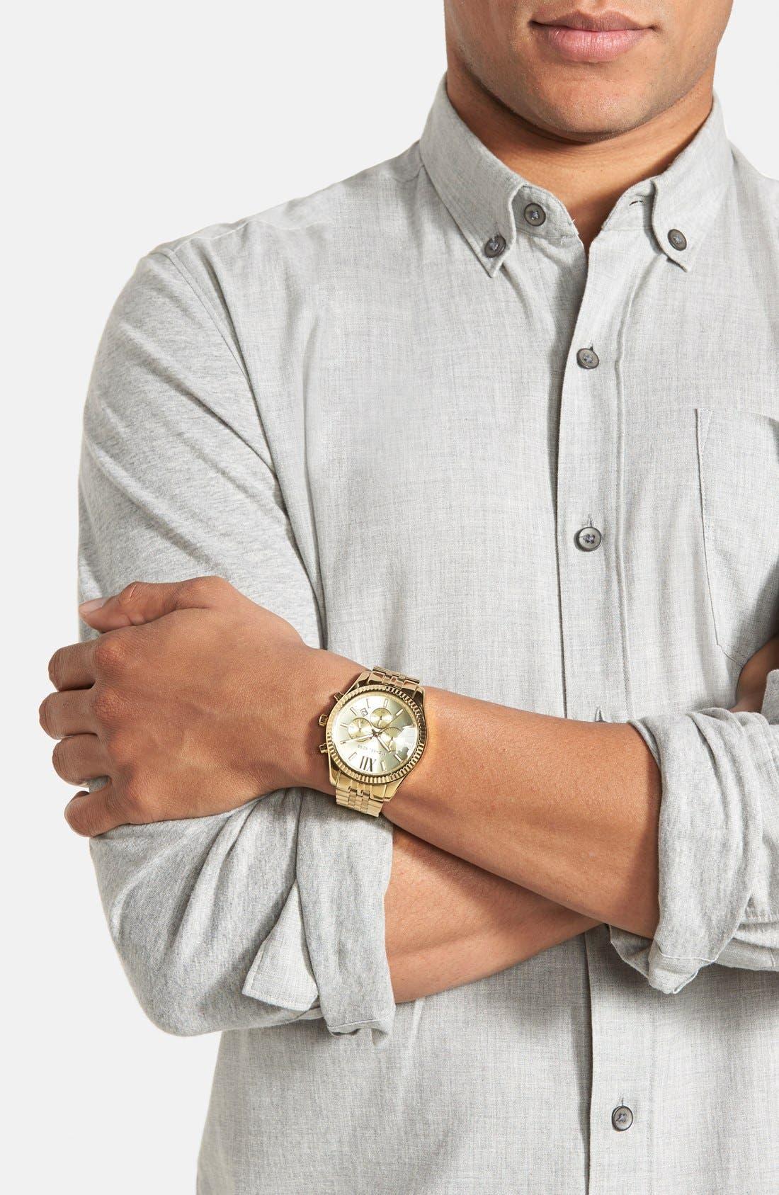 MICHAEL KORS, 'Large Lexington' Chronograph Bracelet Watch, 45mm, Alternate thumbnail 4, color, 710
