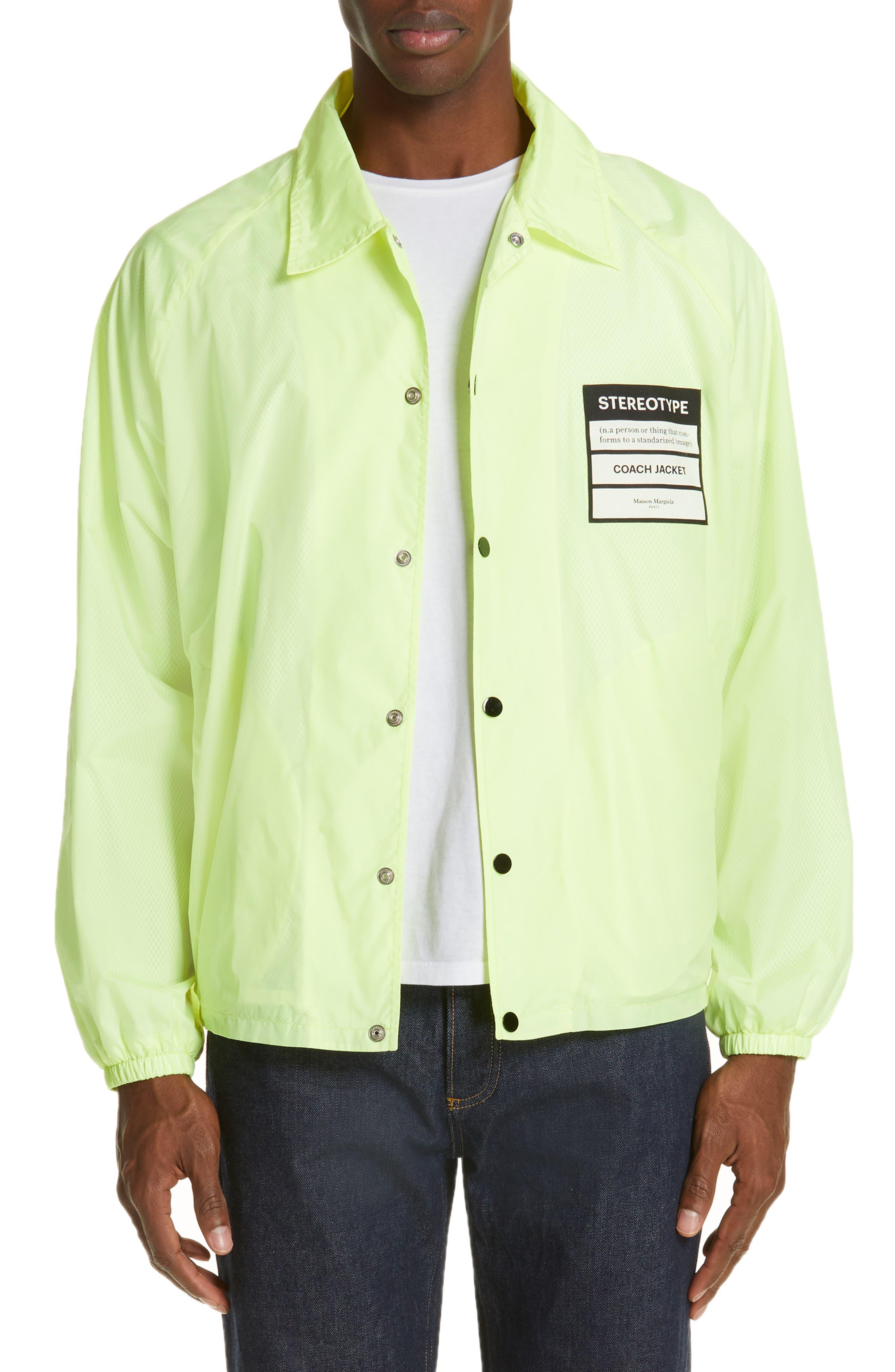 MAISON MARGIELA, Stereotype Coach's Jacket, Main thumbnail 1, color, NEON YELLOW