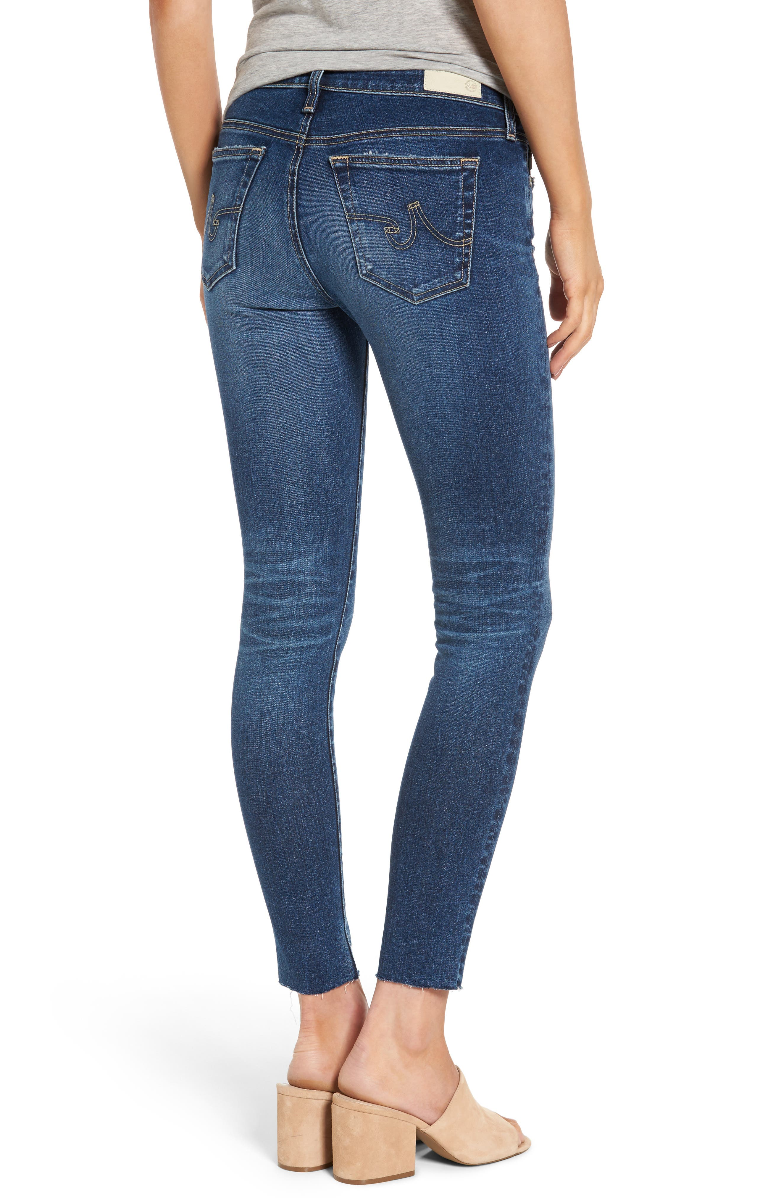 AG, The Legging Raw Hem Ankle Skinny Jeans, Alternate thumbnail 2, color, 450