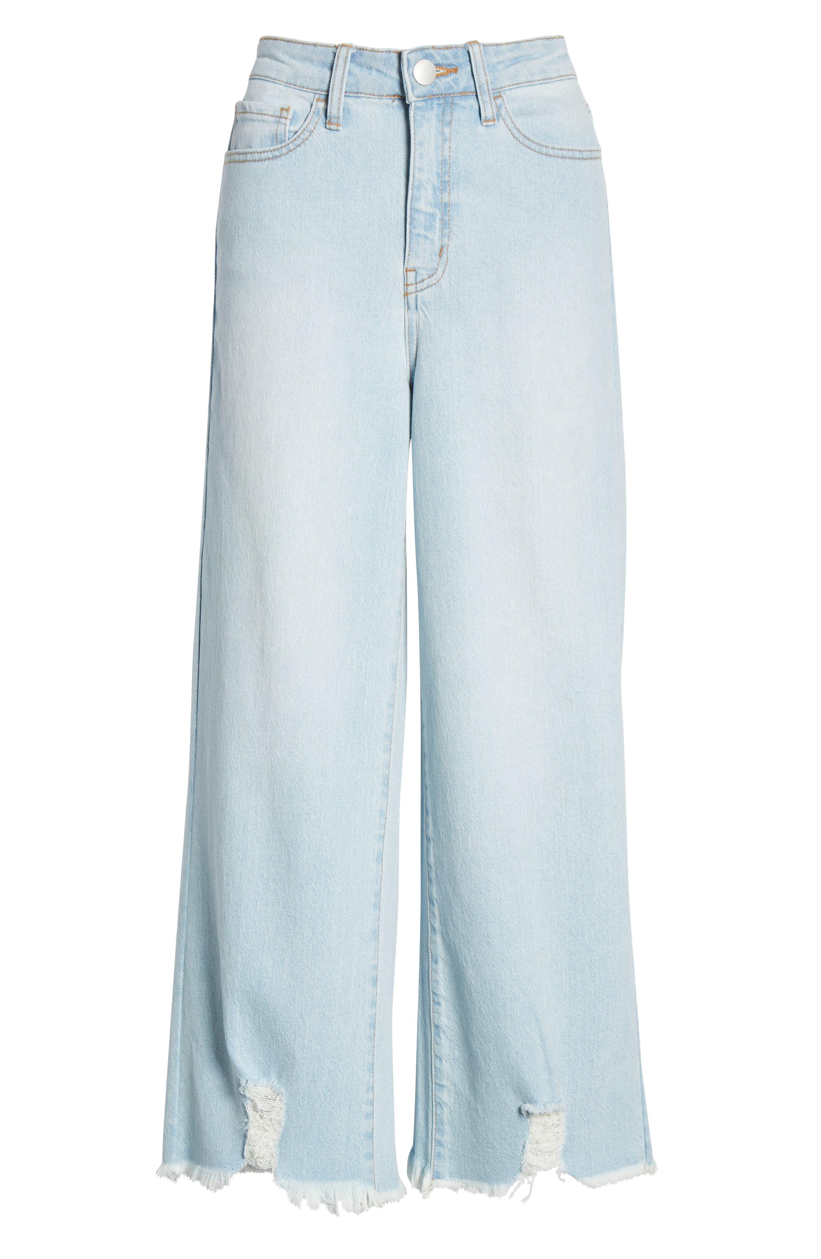 PROSPERITY DENIM, Fray Hem Wide Leg Crop Jeans, Alternate thumbnail 7, color, LIGHT WASH