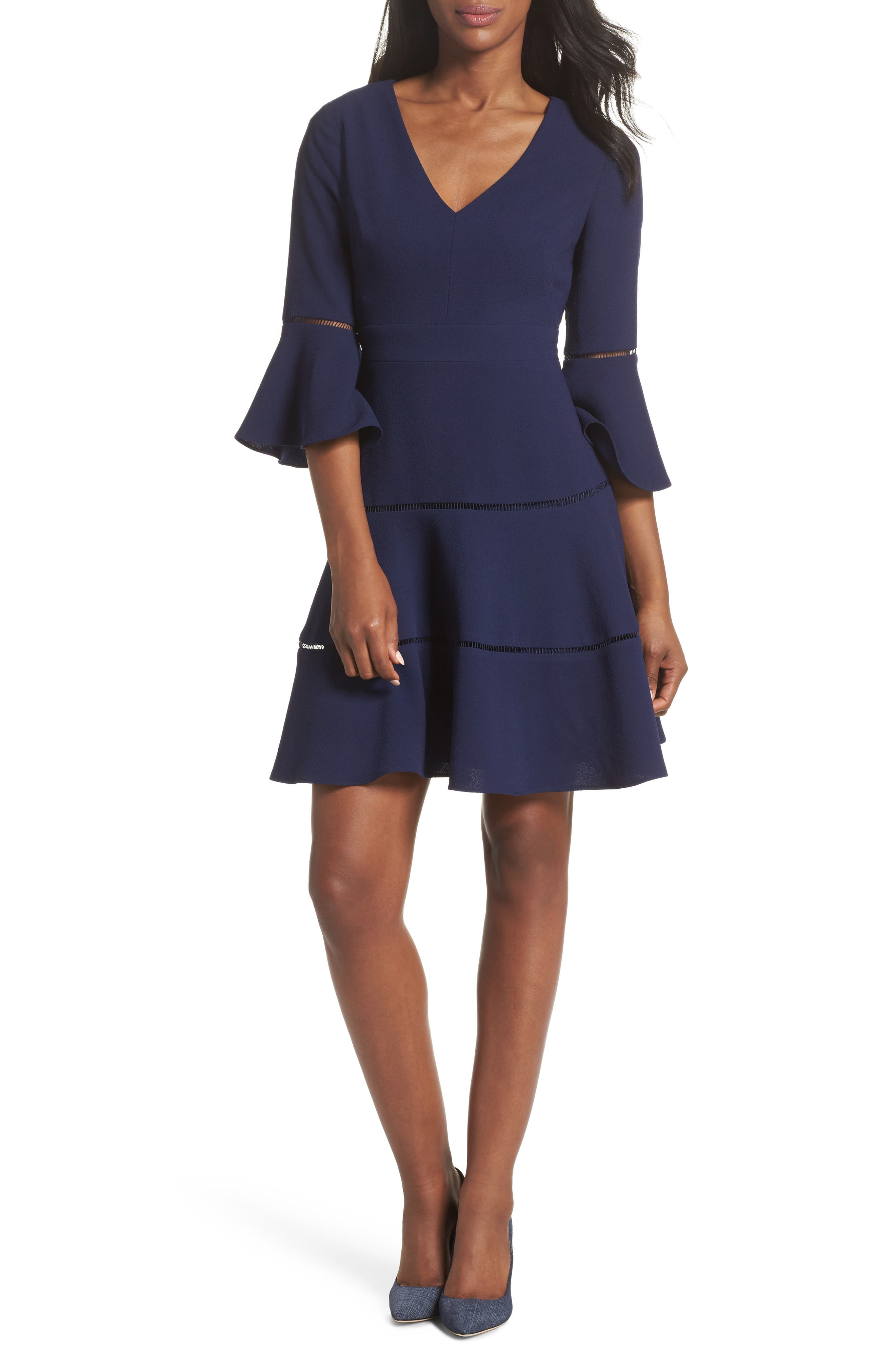 ELIZA J Bell Sleeve Lace Inset Fit & Flare Dress, Main, color, 410