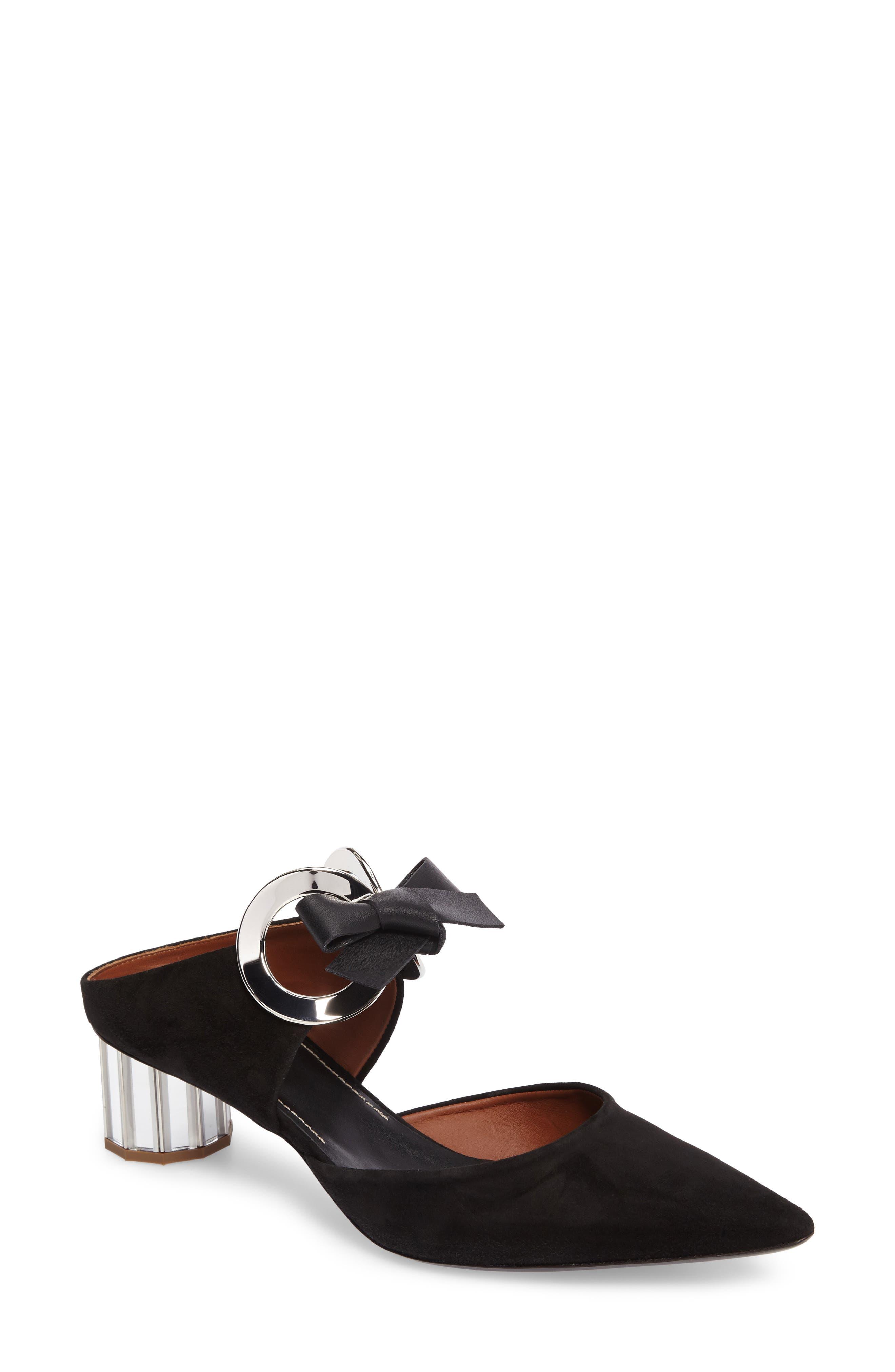 PROENZA SCHOULER Ring Tie Pointy Toe Pump, Main, color, BLACK SUEDE