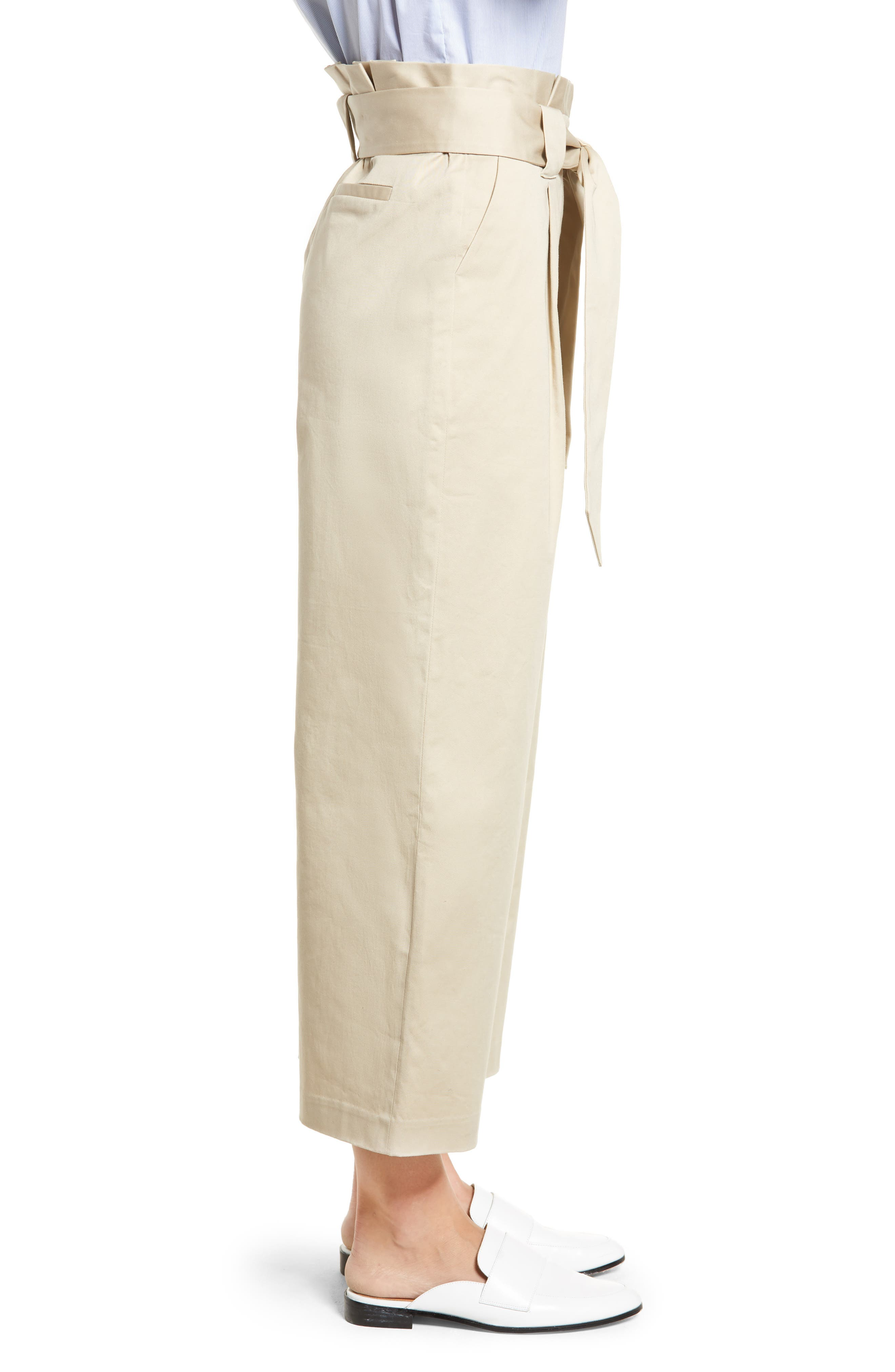 HALOGEN<SUP>®</SUP>, Paperbag Waist Belted Wide Leg Crop Pants, Alternate thumbnail 4, color, TAN OXFORD