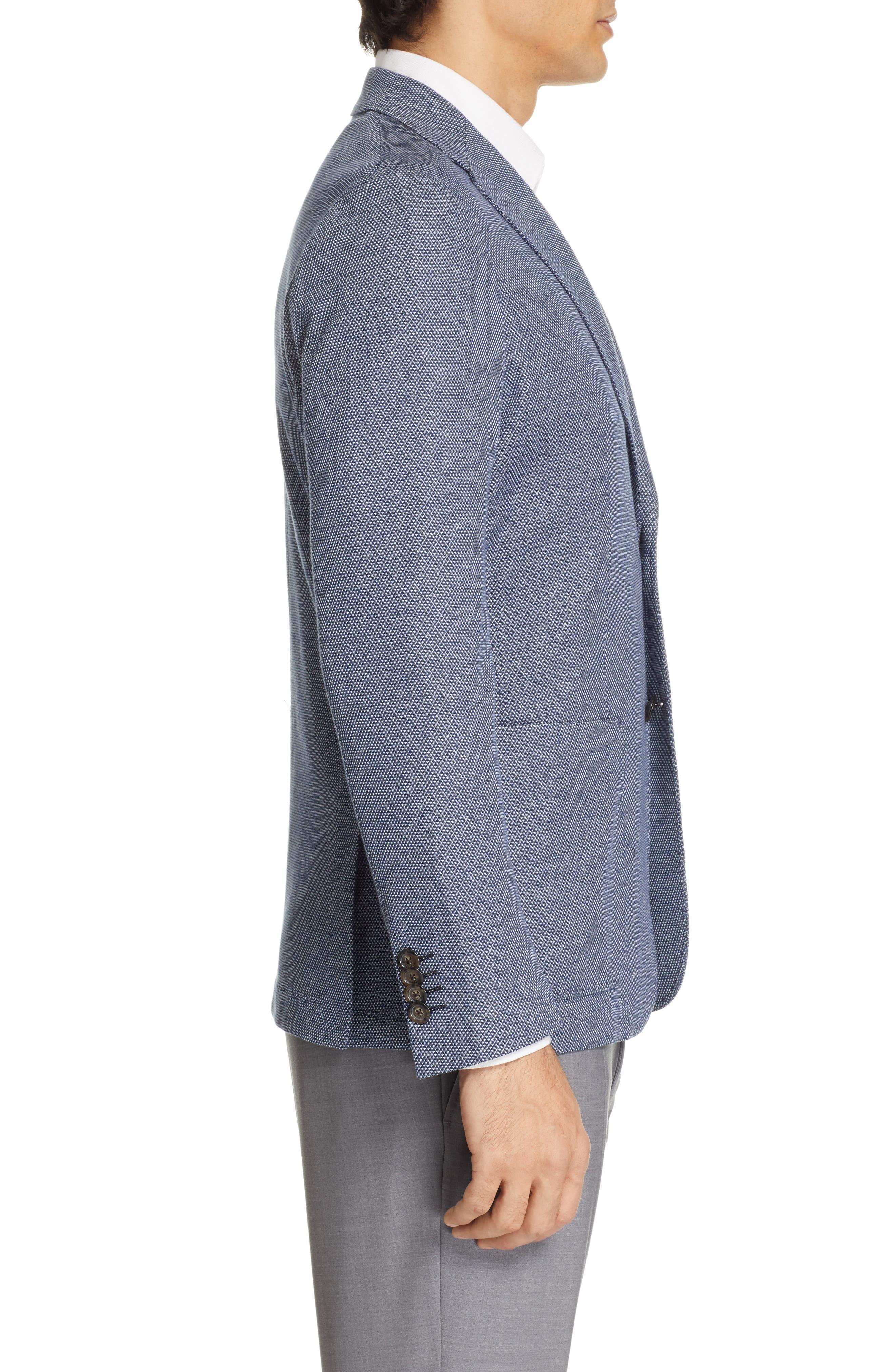CANALI, Classic Fit Cotton Blend Sport Coat, Alternate thumbnail 3, color, NAVY