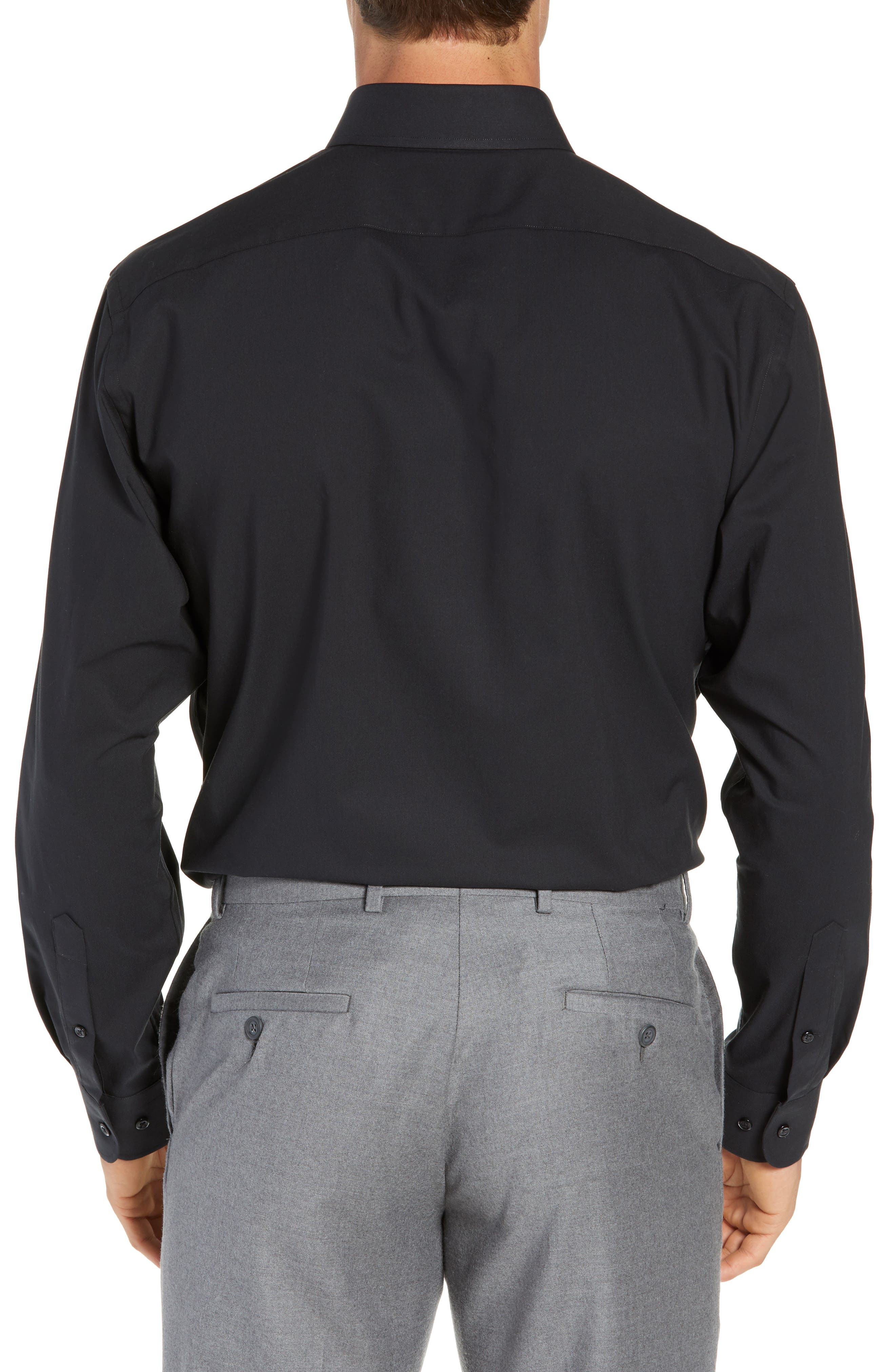 NORDSTROM MEN'S SHOP, Tech-Smart Traditional Fit Stretch Pinpoint Dress Shirt, Alternate thumbnail 3, color, BLACK ROCK
