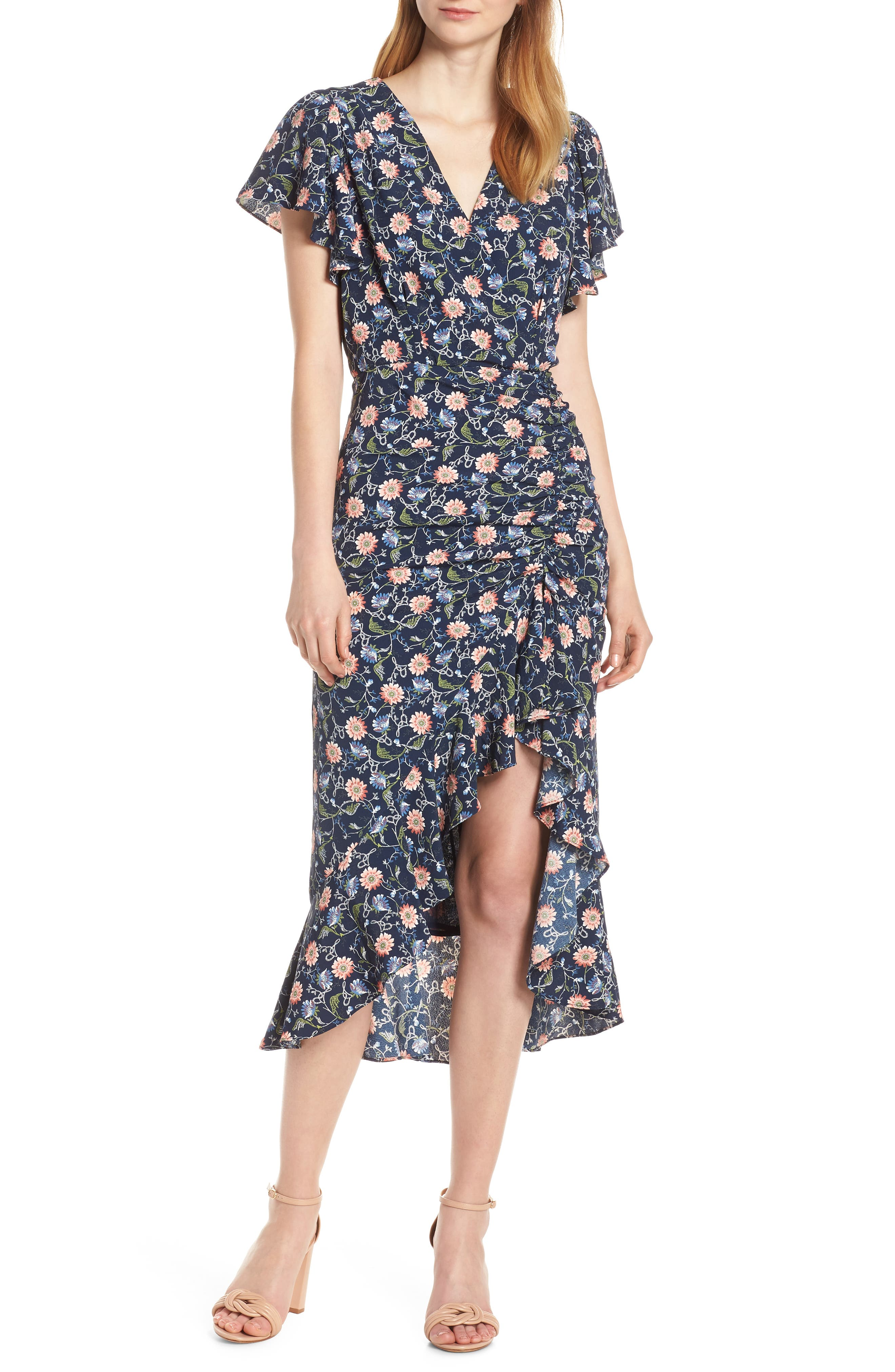 Chelsea28 Ruched Floral Midi Dress, Blue
