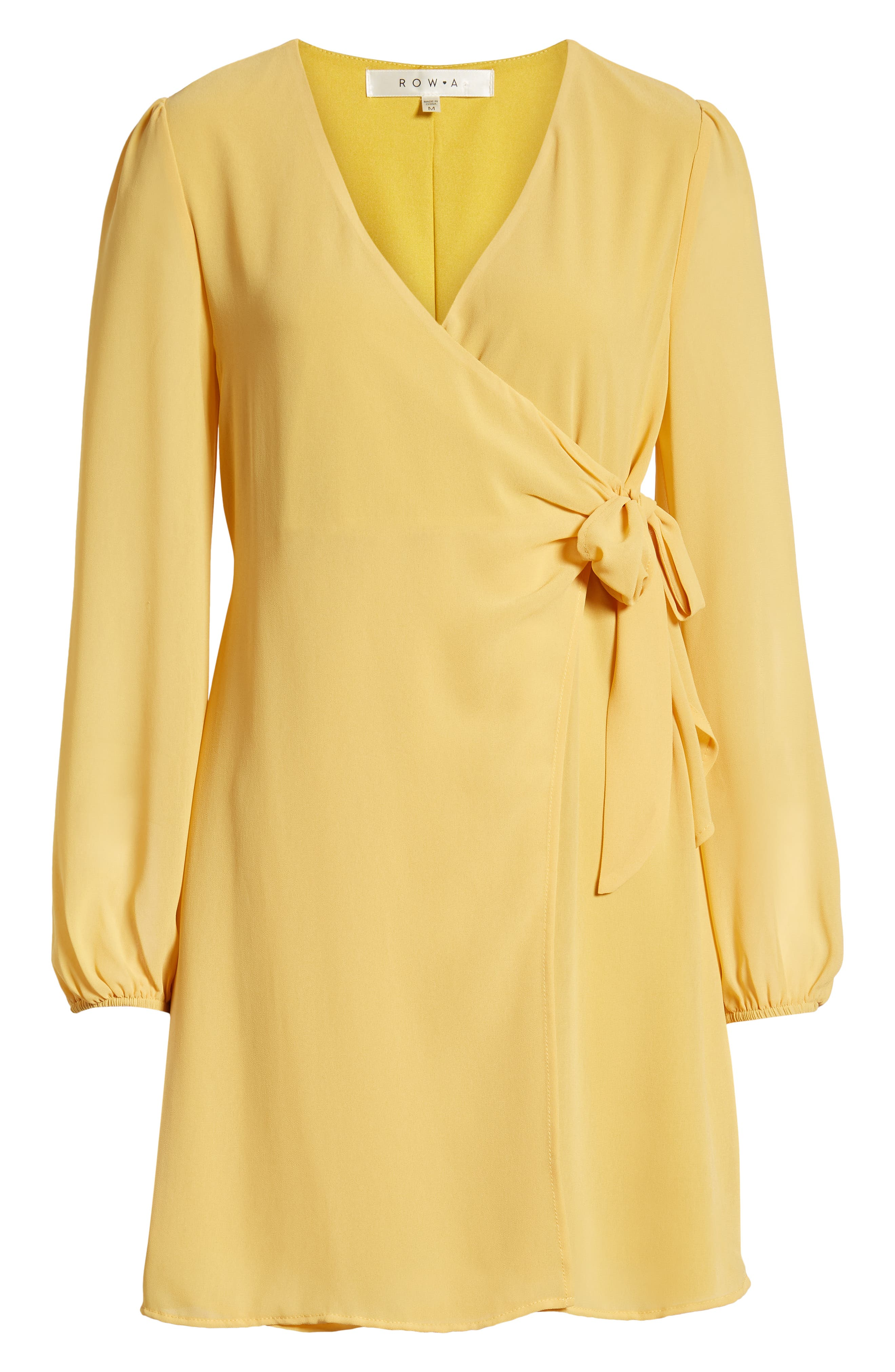 ROW A, Faux Wrap Dress, Alternate thumbnail 7, color, MUSTARD SOLID